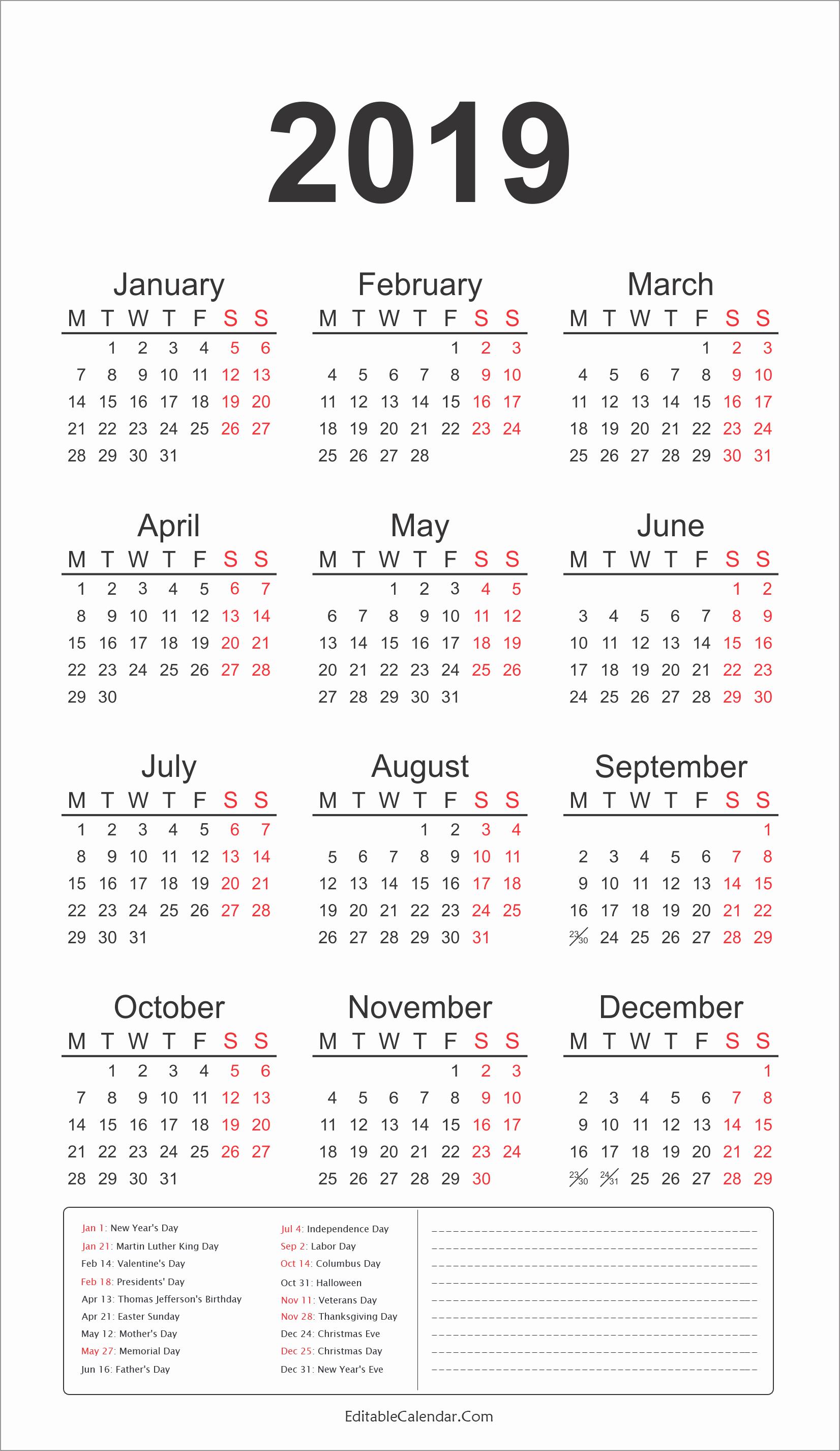 Federal Holidays Printable Calendars 2019 2019 Calendar Template Calendar 2019 Federal Holidays