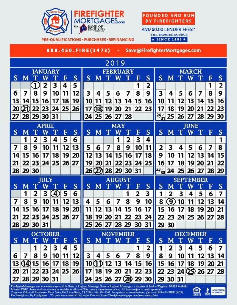 Firefighter Shift Calendar, Firefighter Calendar, Firefighter Calendars B Shift Calendar 2019