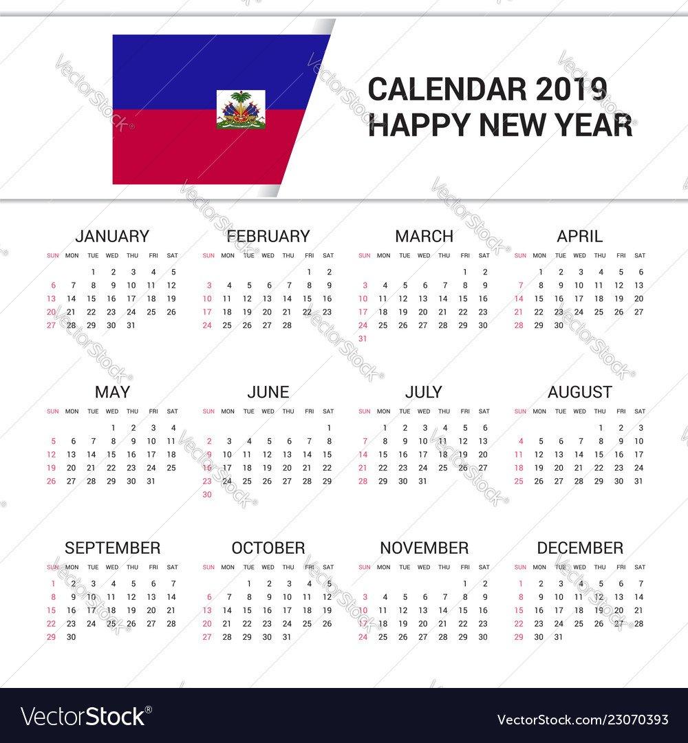 Flag, Haitian & Year Vector Images (22) Calendar 2019 Haiti