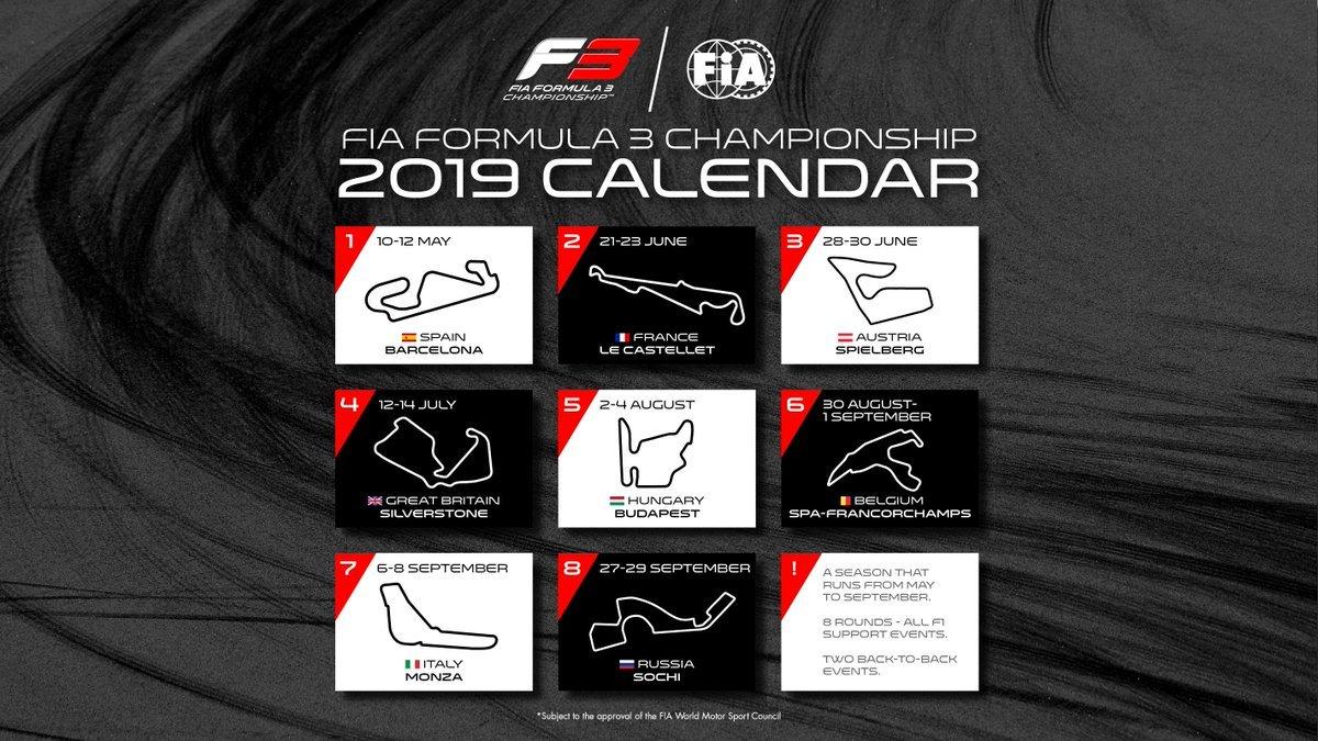 "Formula 3 On Twitter: ""icymi – Here Is Our 2019 #f3 Calendar!… "" Formula 3 Calendar 2019"