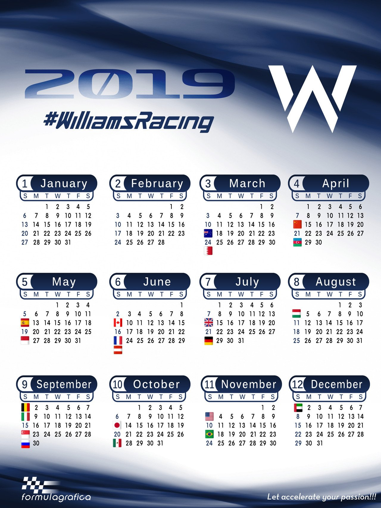 Formulagrafica — Calendar – 2019 Formula 1 Season – Williams Racing Calendar 2019 Formula 1
