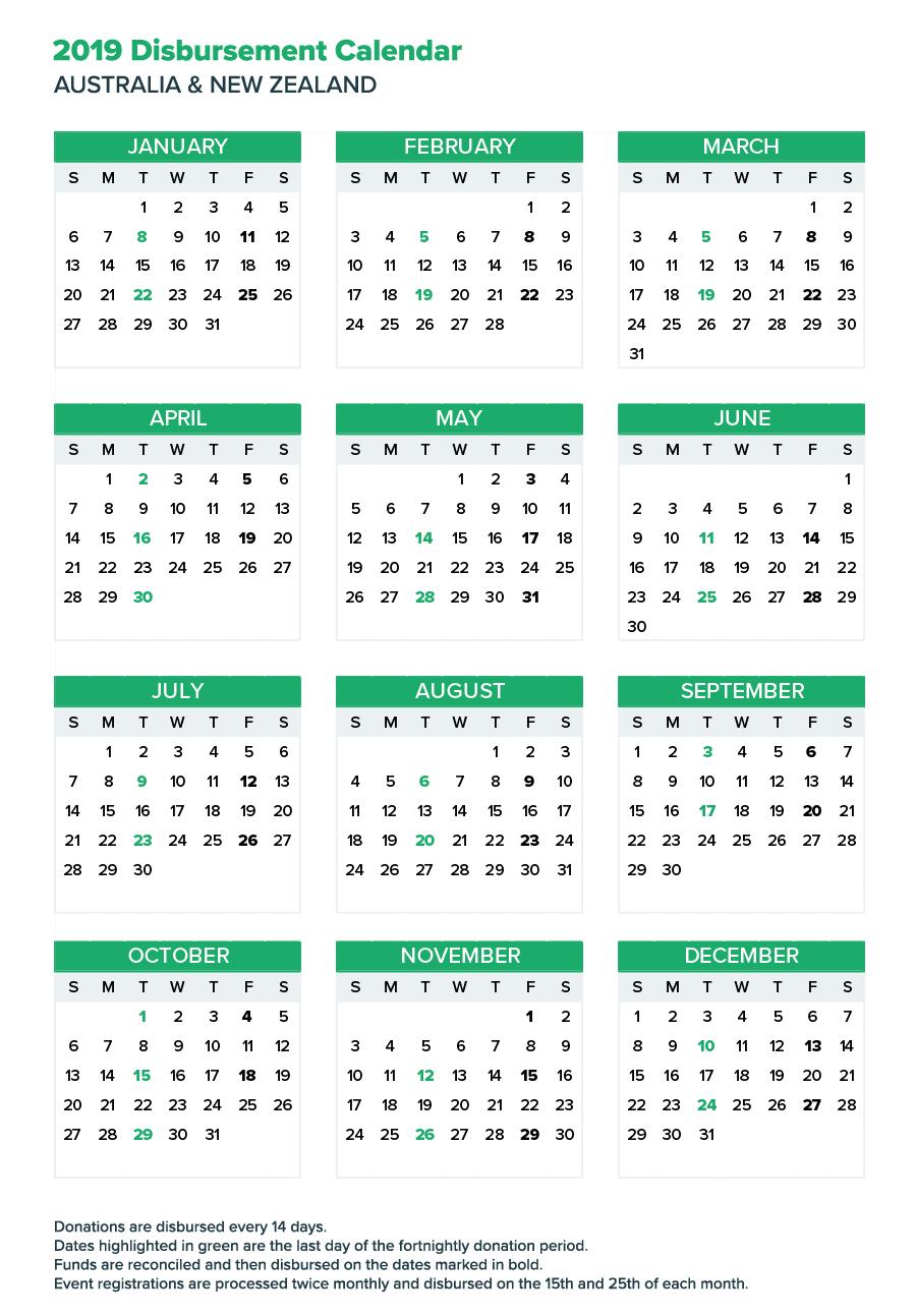 Fortnightly Donation Payments Calendar | Everydayhero Show A 2019 Calendar