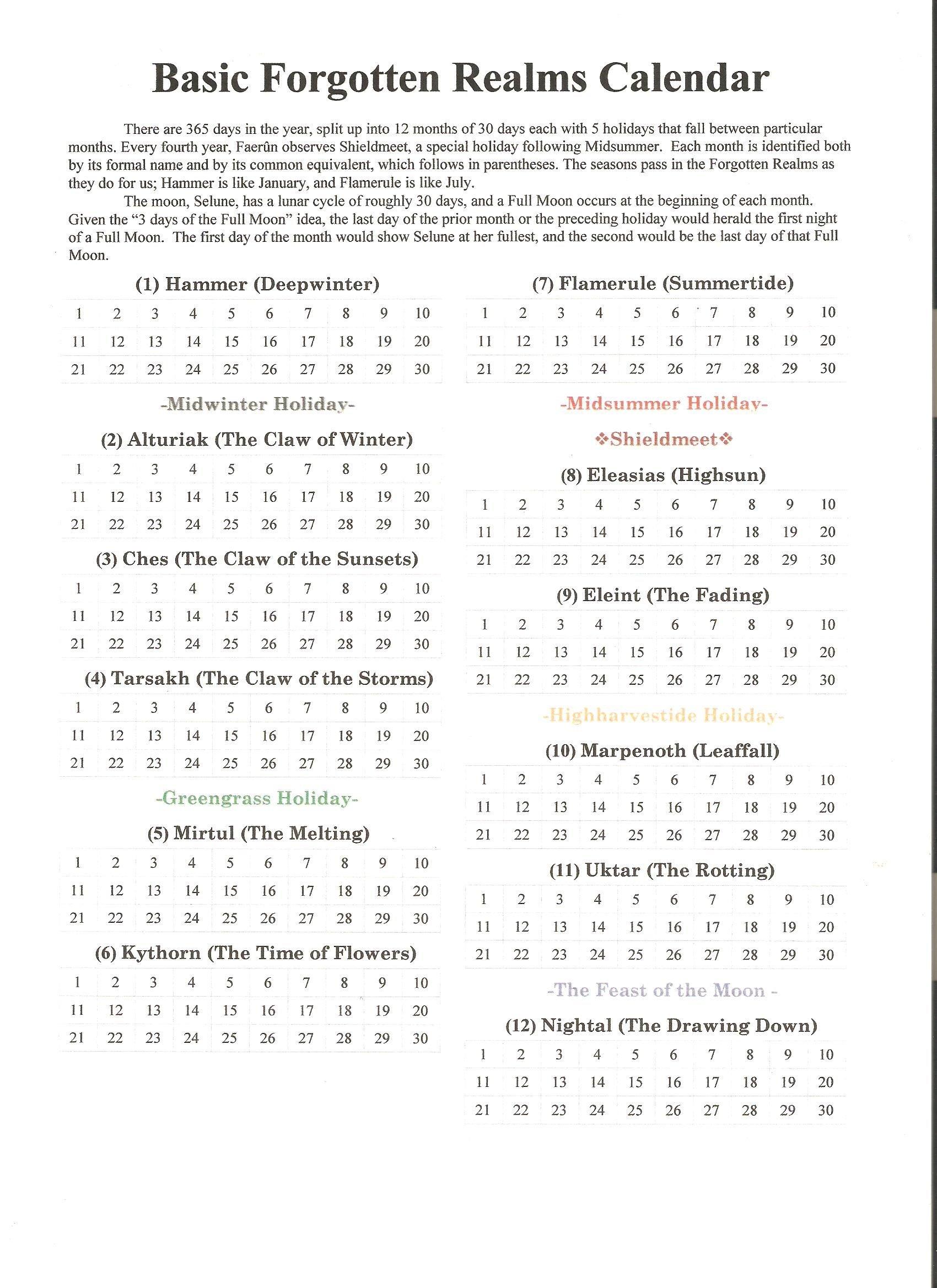 Fr Basic Calendar | Dragon Heist In 2019 | Forgotten Realms, Bullet D&d Calendar 2019