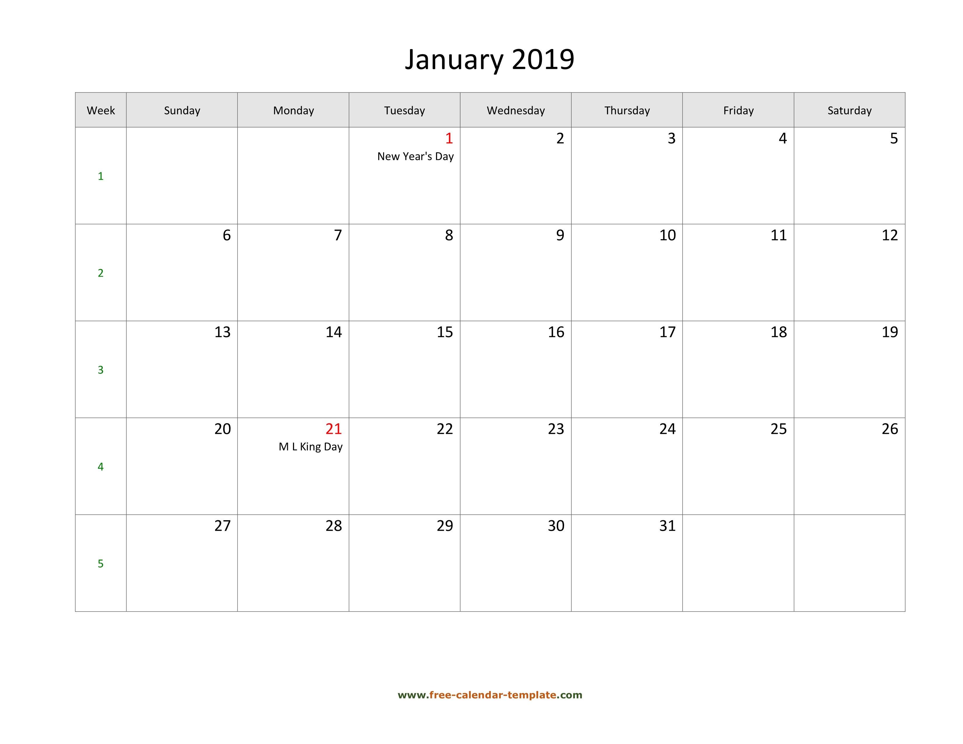 Free 2019 Calendar Blank January Template (Horizontal)   Free Calendar 2019 January Pdf