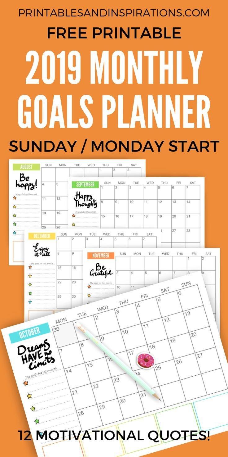 Free 2019 Monthly Goals Calendar Printable | Planner / Calendar Calendar 2019 Goals