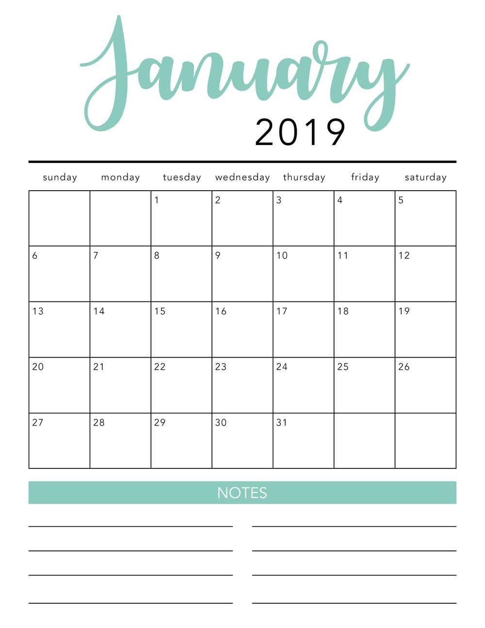 Free 2019 Printable Calendar Template (2 Colors!) – I Heart Naptime Calendar 2019 Free Template