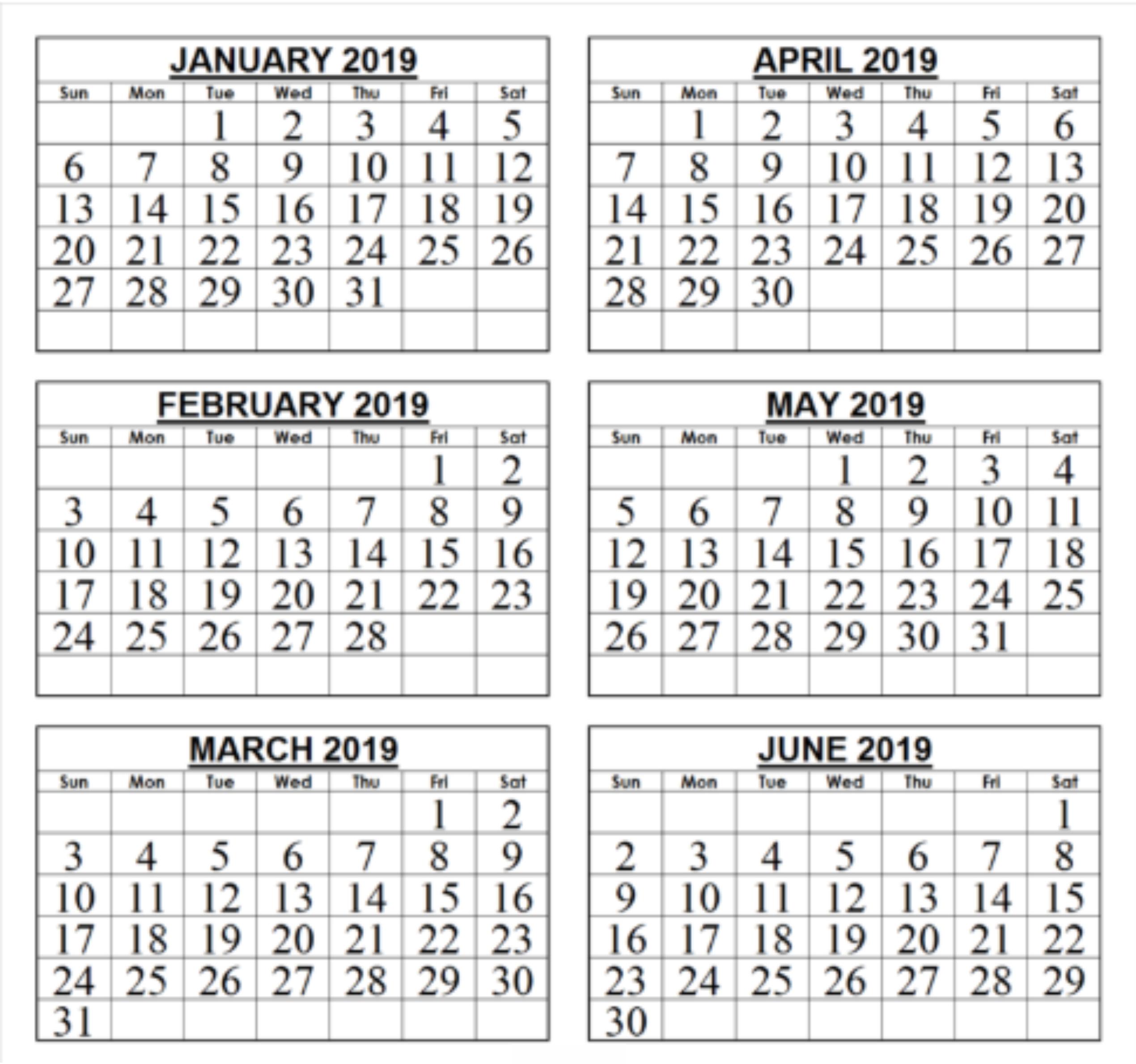 Free 6 Month Calendar 2019 • Printable Blank Calendar Template Calendar 2019 6 Months