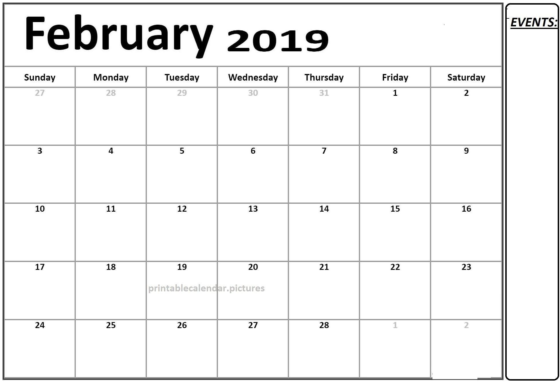 Free Calendar 2019 February Printable Template Pdf   Calendar Of Calendar 2019 Template Pdf