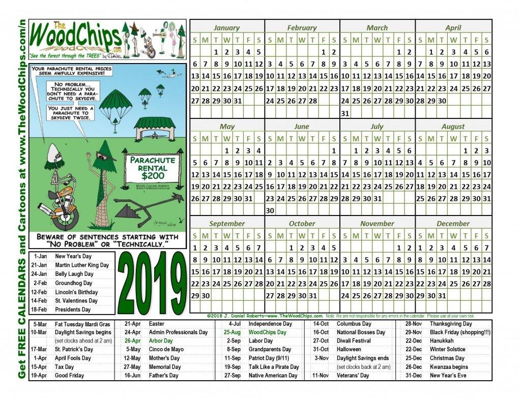 Free Calendars Download 2019 | The Woodchips J Salmon 2019 Calendar