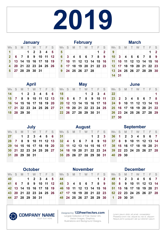 Free Download 2019 Calendar With Week Numbers 2019 Calendar 52 Weeks