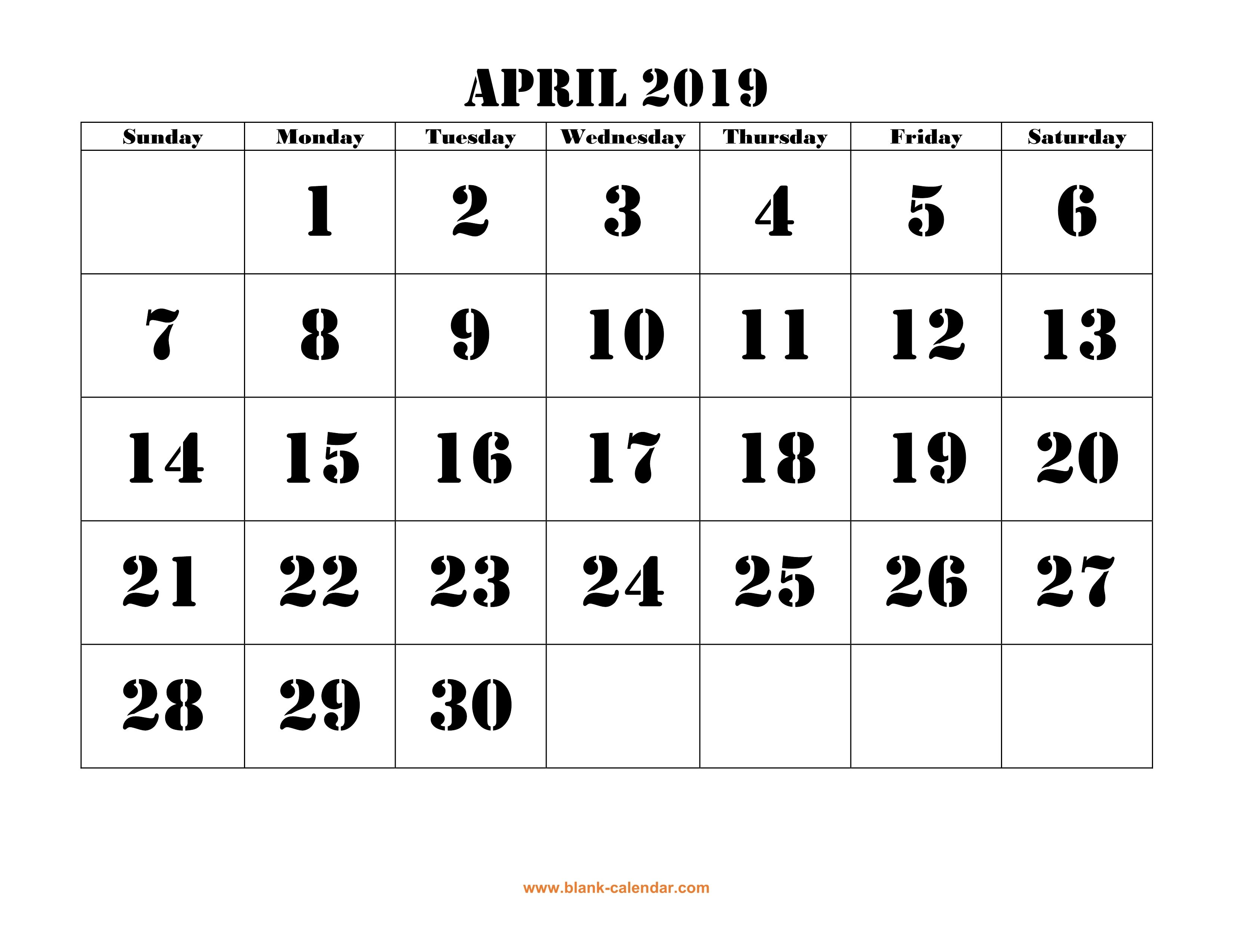 Free Download Printable April 2019 Calendar, Large Font Design April 5 2019 Calendar