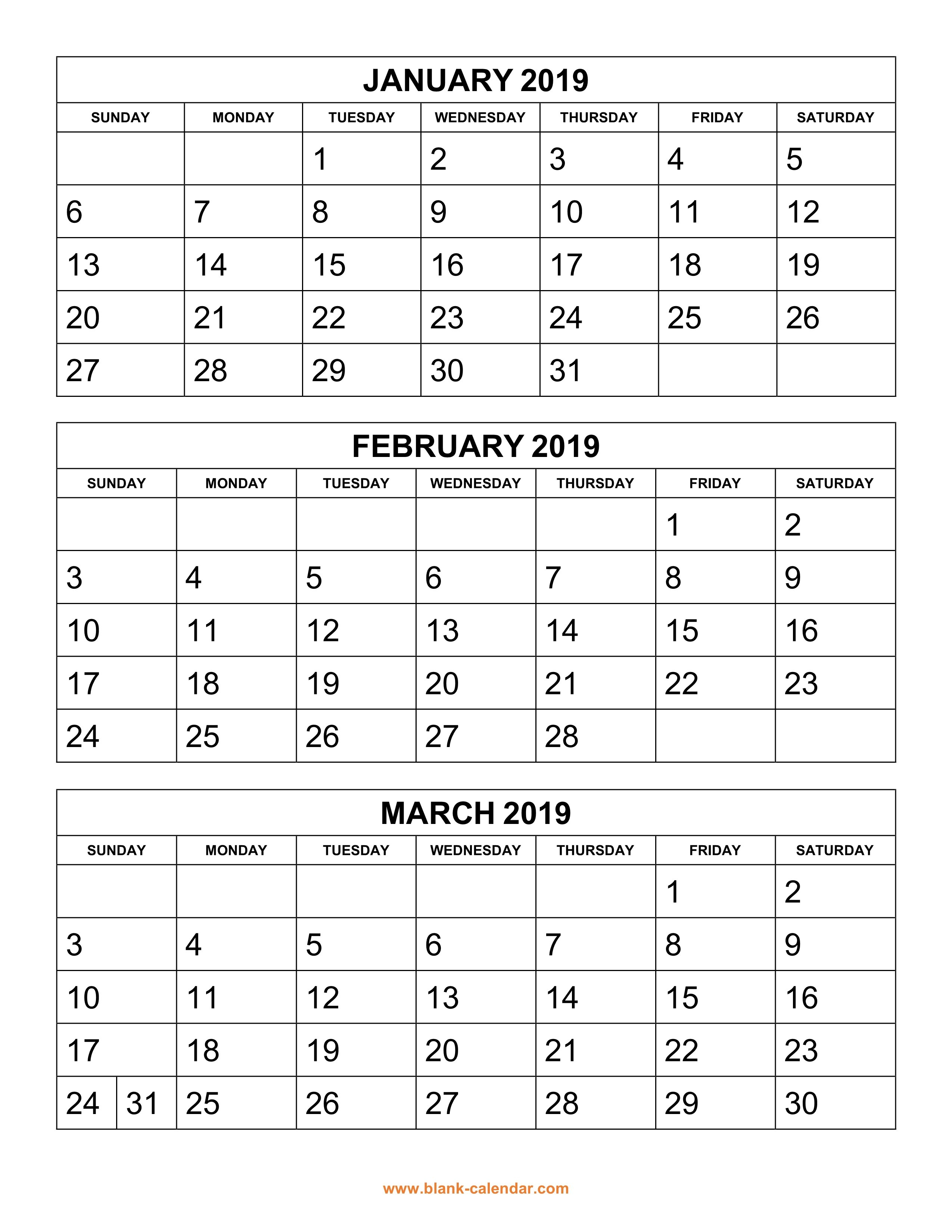 Free Download Printable Calendar 2019, 3 Months Per Page, 4 Pages 3 Month Calendar 2019