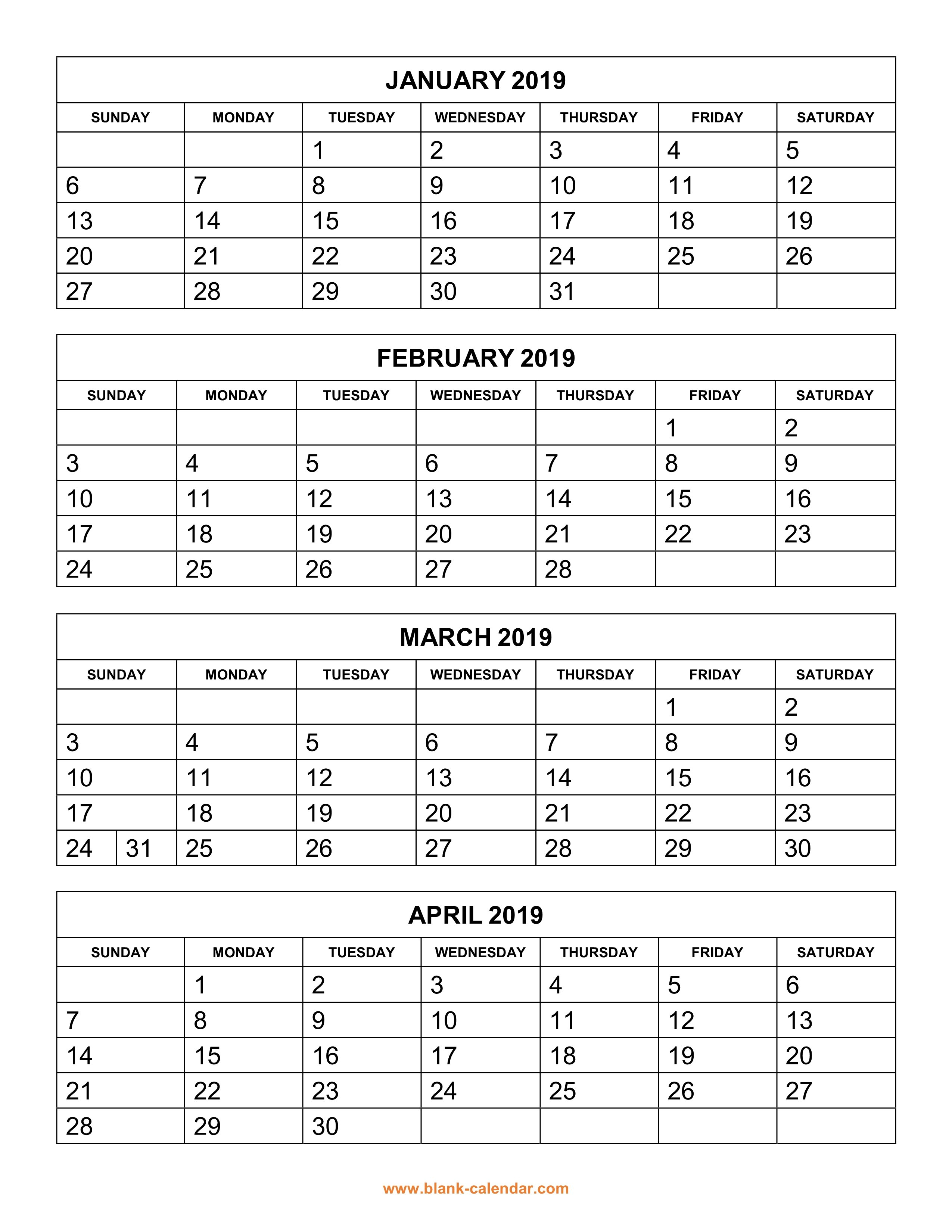 Free Download Printable Calendar 2019, 4 Months Per Page, 3 Pages 3 Month Calendar 2019