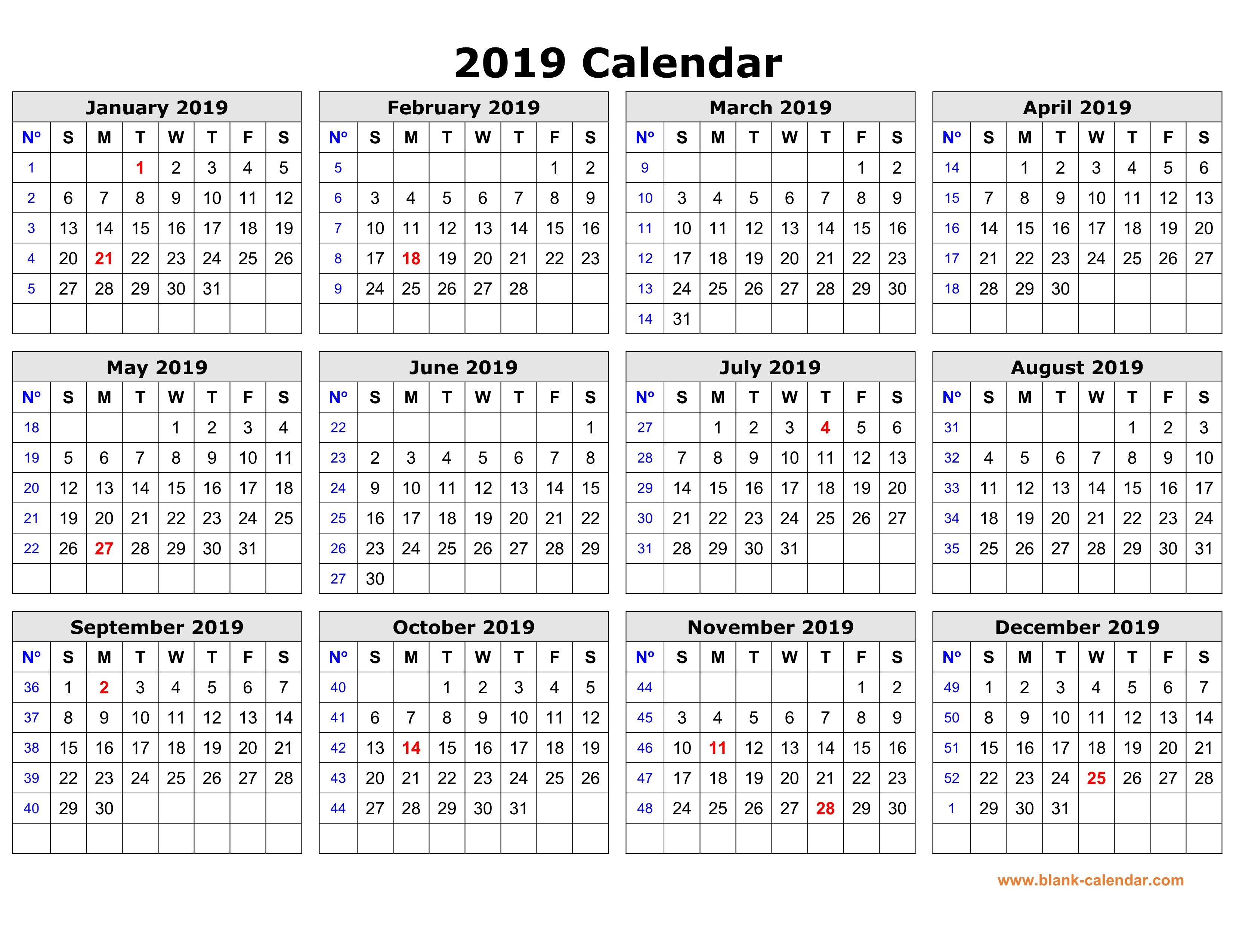 Free Download Printable Calendar 2019 In One Page, Clean Design. Printable 2019 Calendar