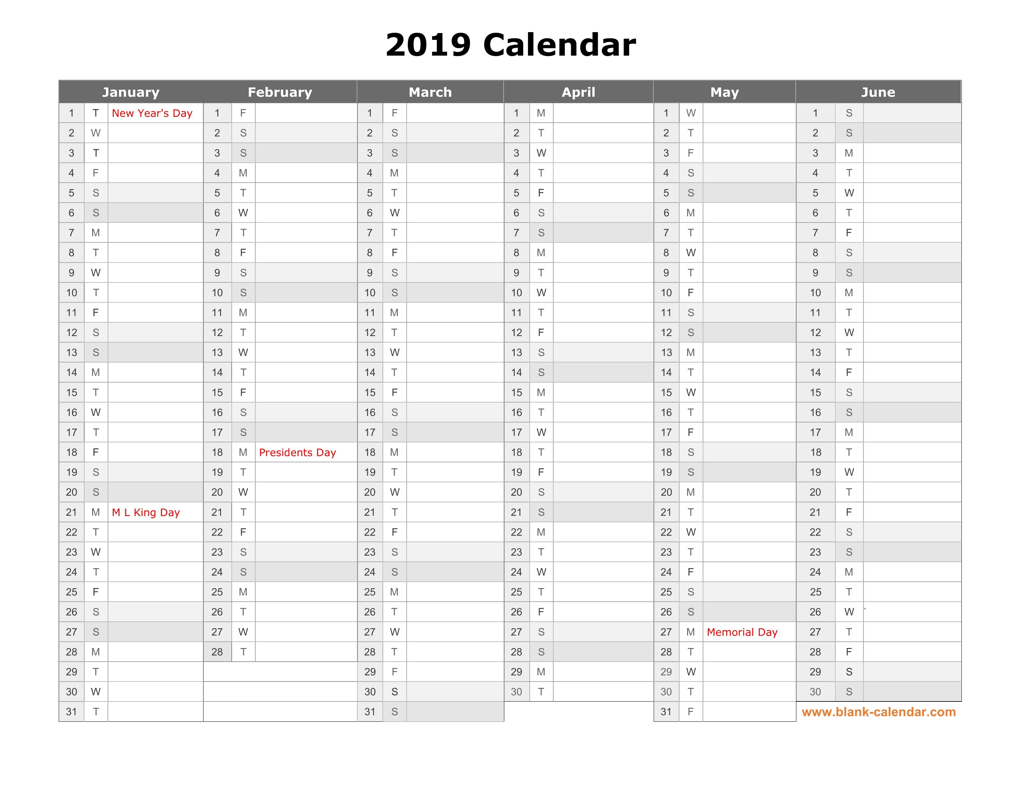 Free Download Printable Calendar 2019, Month In A Column, Half A Calendar 2019 Year To A Page