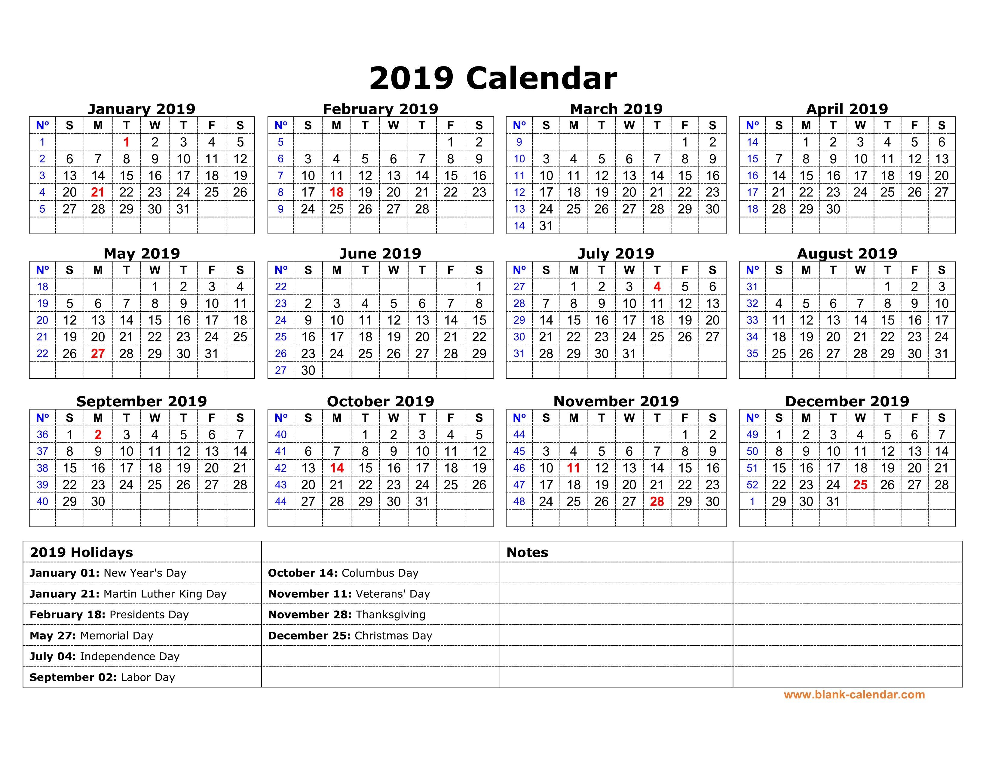 Free Download Printable Calendar 2019 With Us Federal Holidays, One Calendar 2019 Holidays Usa