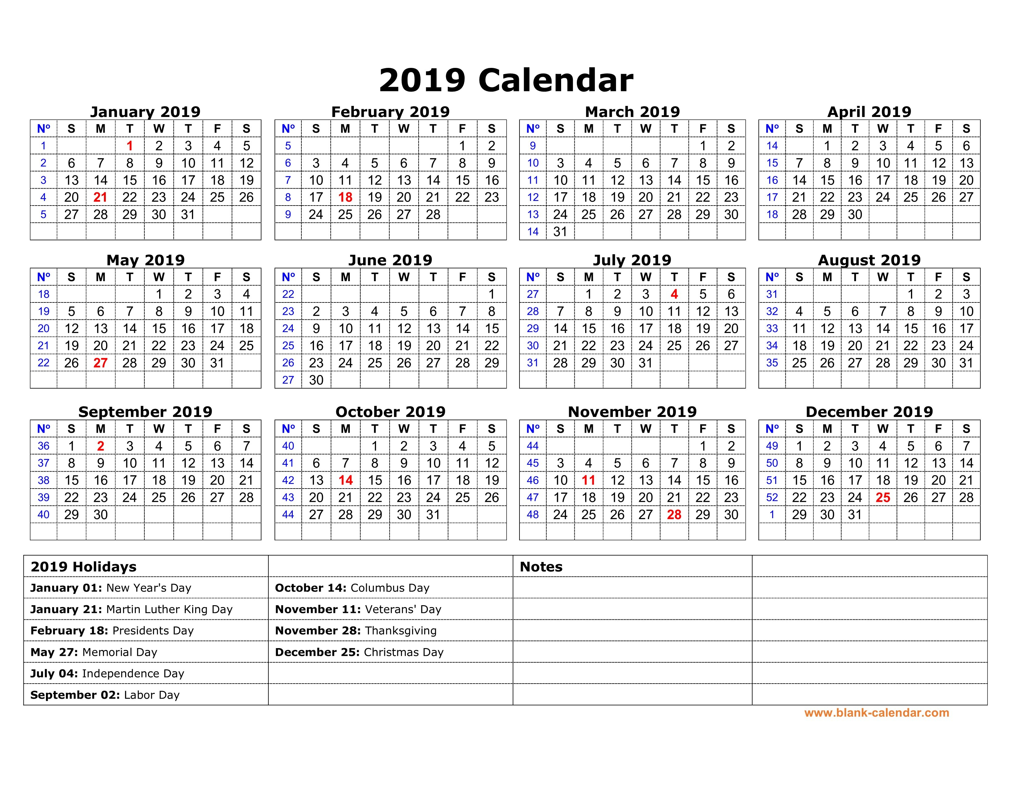 Free Download Printable Calendar 2019 With Us Federal Holidays, One Calendar 2019 With Holidays Usa Printable
