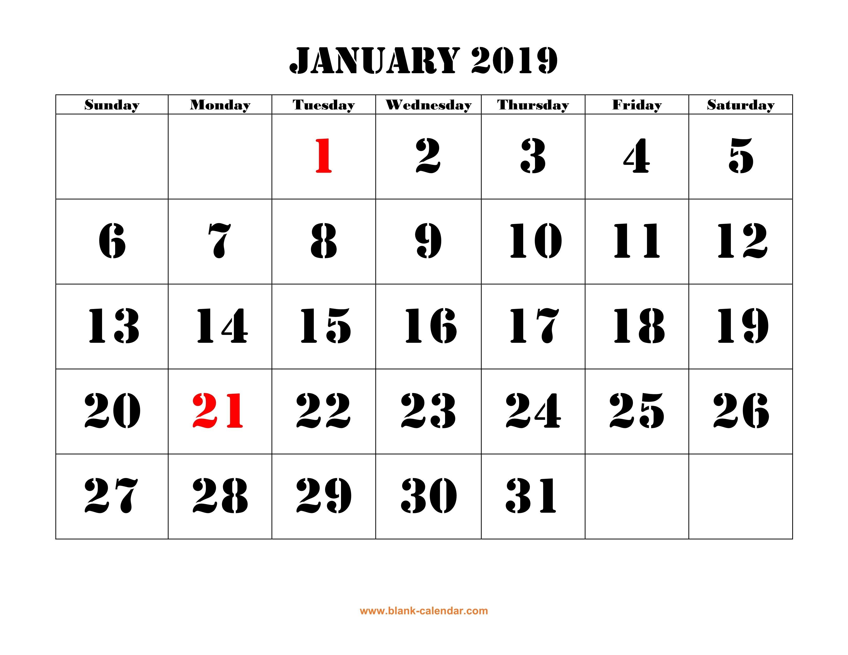 Free Download Printable January 2019 Calendar, Large Font Design Calendar Of 2019 January
