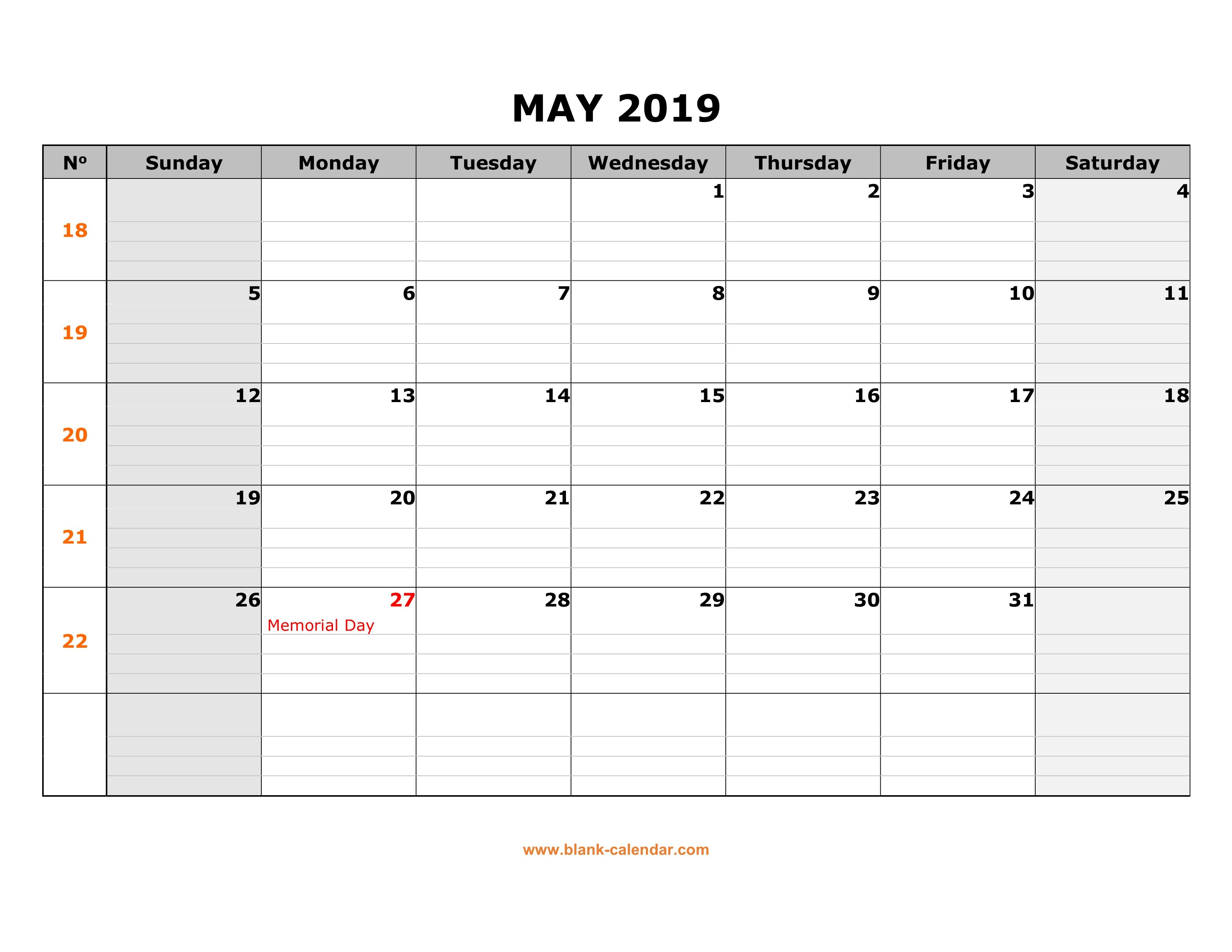 Free Download Printable May 2019 Calendar, Large Box Grid, Space For Calendar 2019 Large