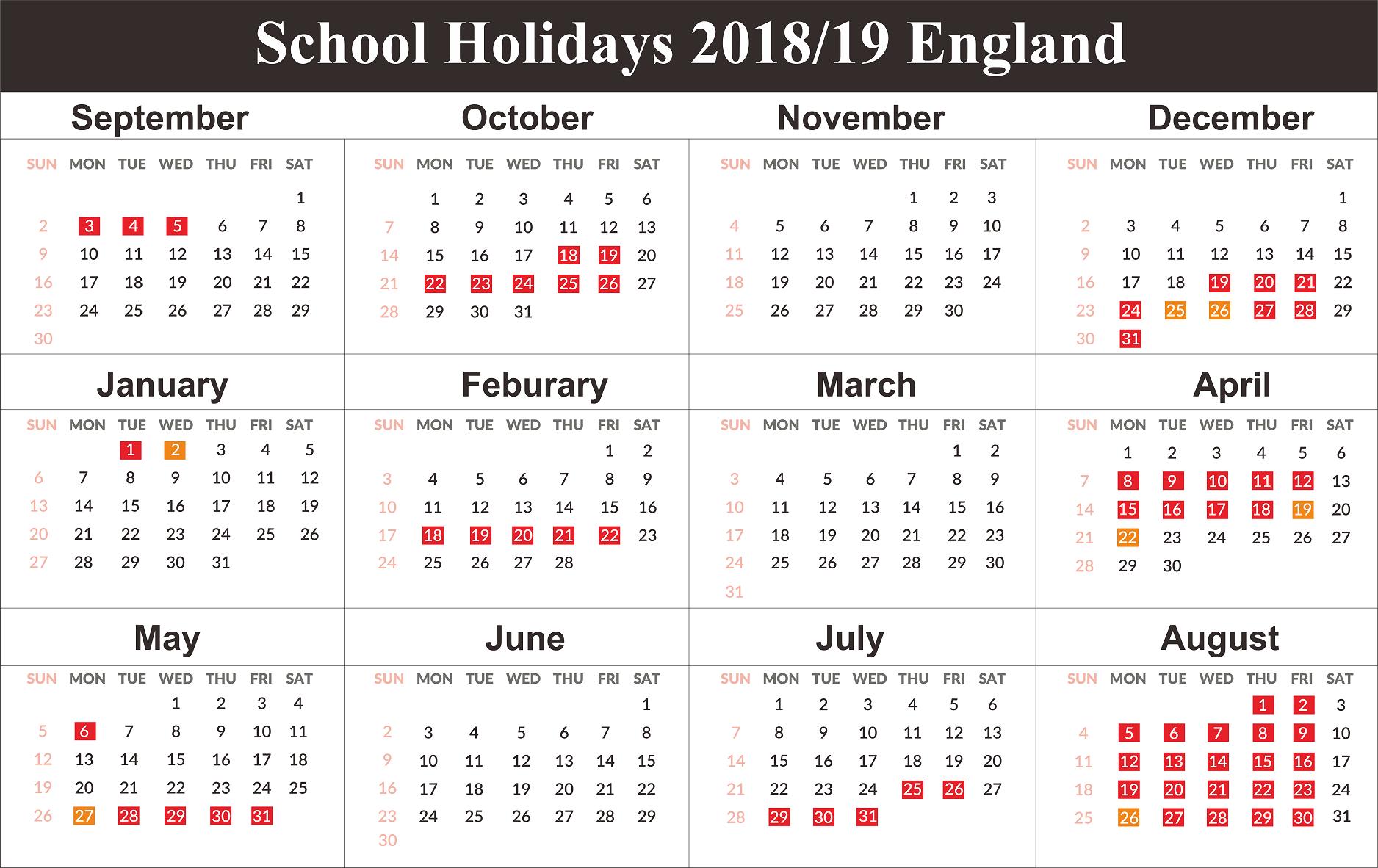 Free England School Holidays Calendar 2018 2019   Free Printable Calendar 2019 England