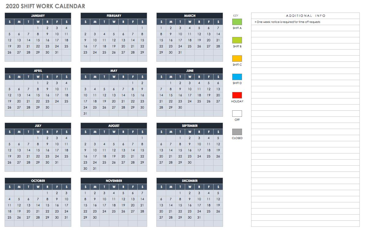 Free Excel Calendar Templates 5 Column Calendar 2019