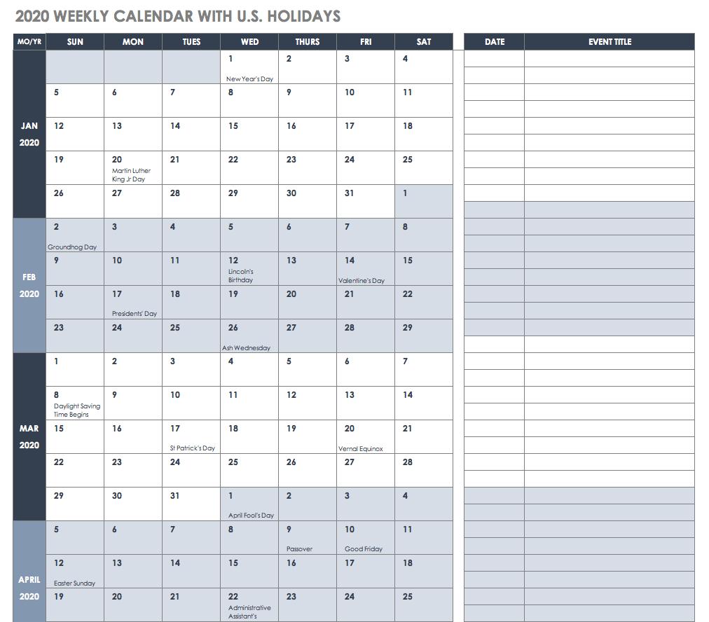 Free Excel Calendar Templates Weekly Calendar 2019 Xls