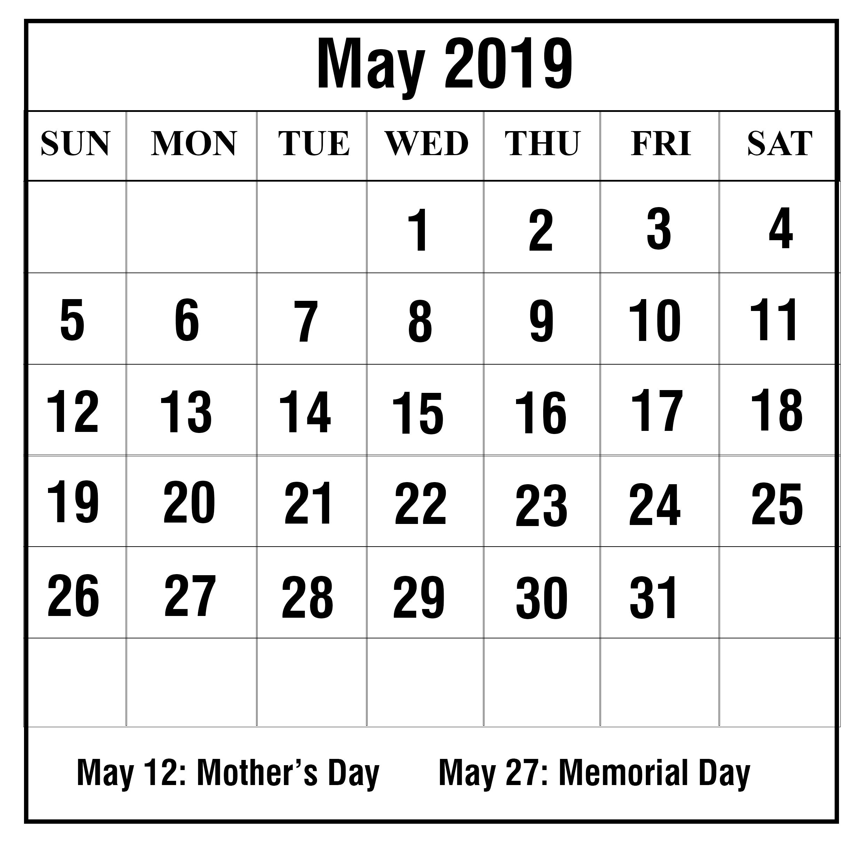 Free May 2019 Printable Calendar In Pdf, Word, Excel   Printable May May 8 2019 Calendar
