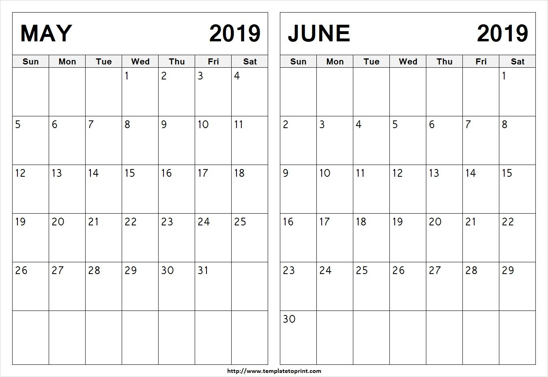 Free* May & June 2019 Printable Calendar (2 Months) Blank Templates Calendar 2019 May June July