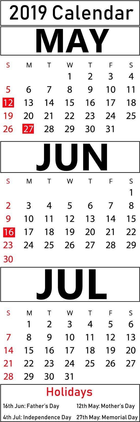 Free May & June & July Calendar 2019 Printable Templates [Pdf June 7 2019 Calendar