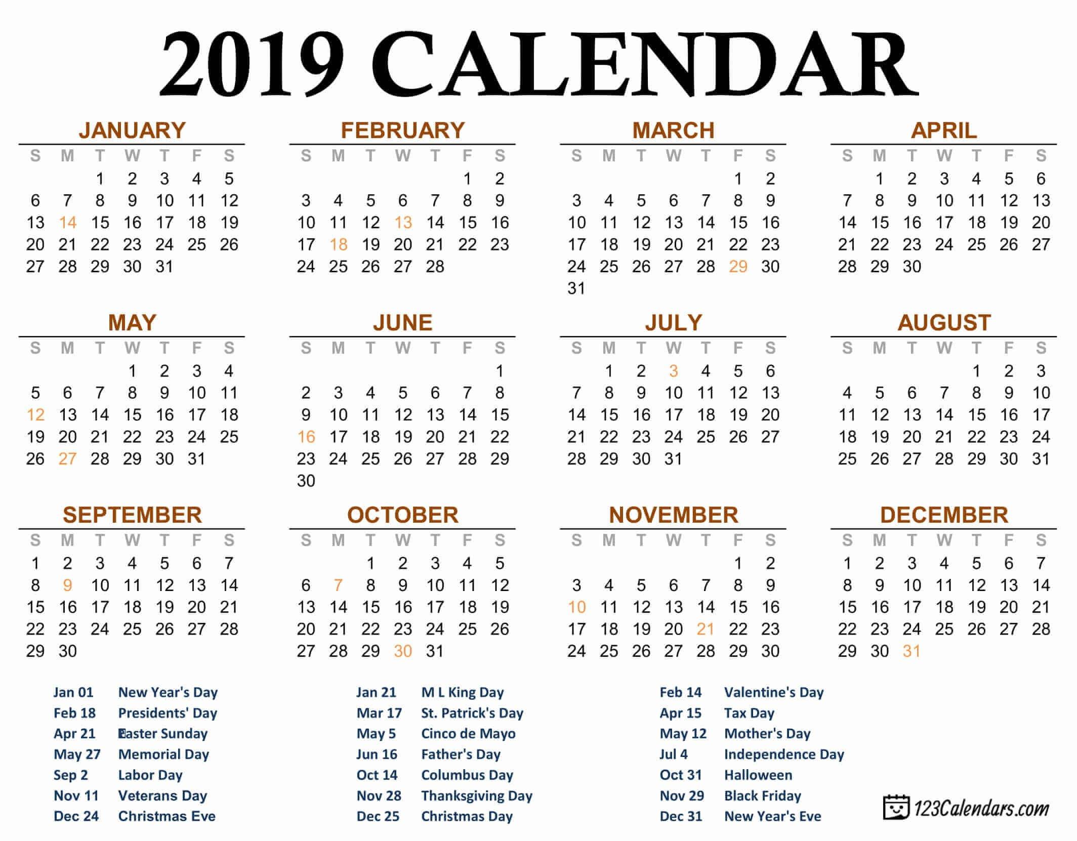 Free Printable 2019 Calendar | 123Calendars Calendar 2019 Special Days