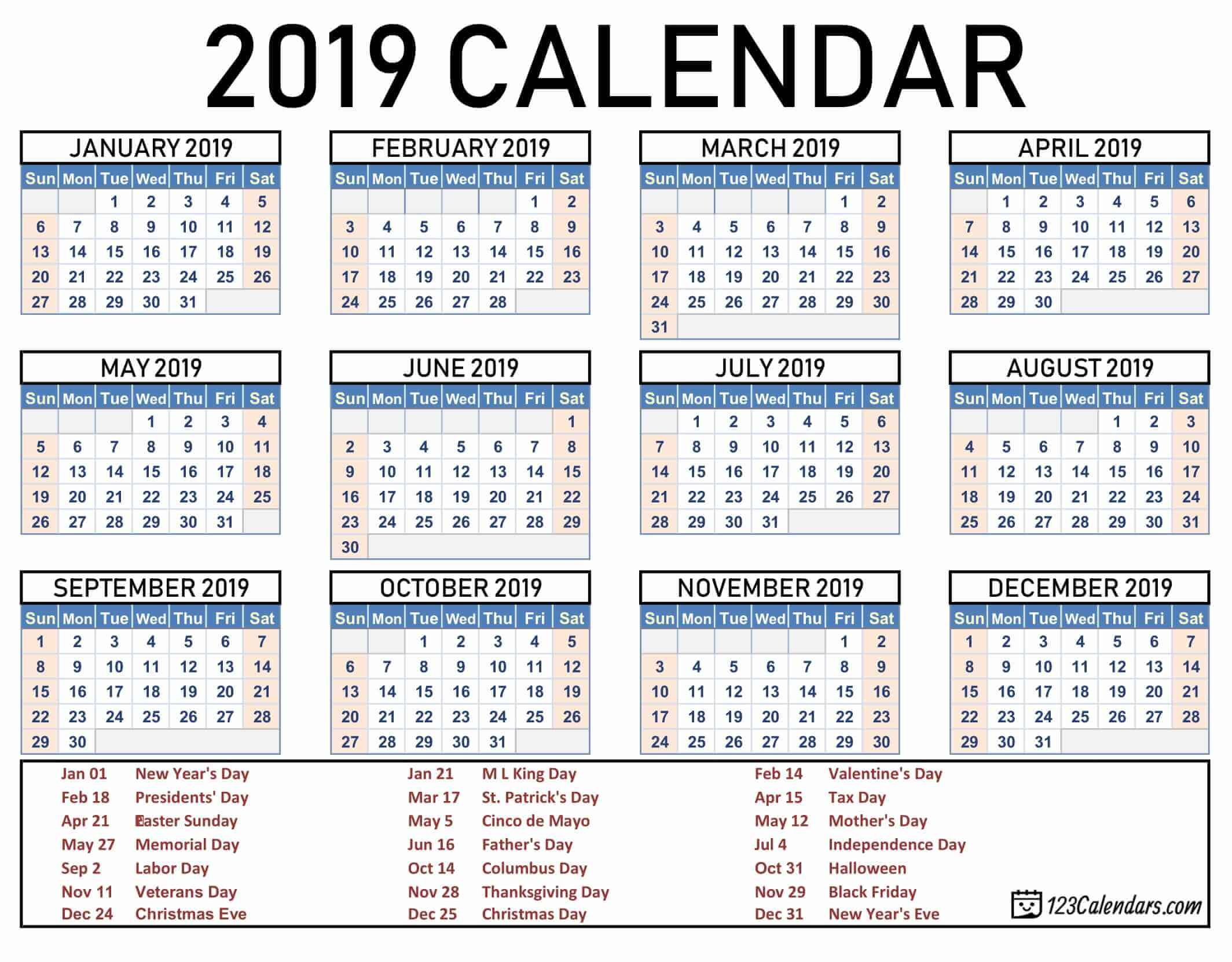 Free Printable 2019 Calendar | 123Calendars Calendar 2019