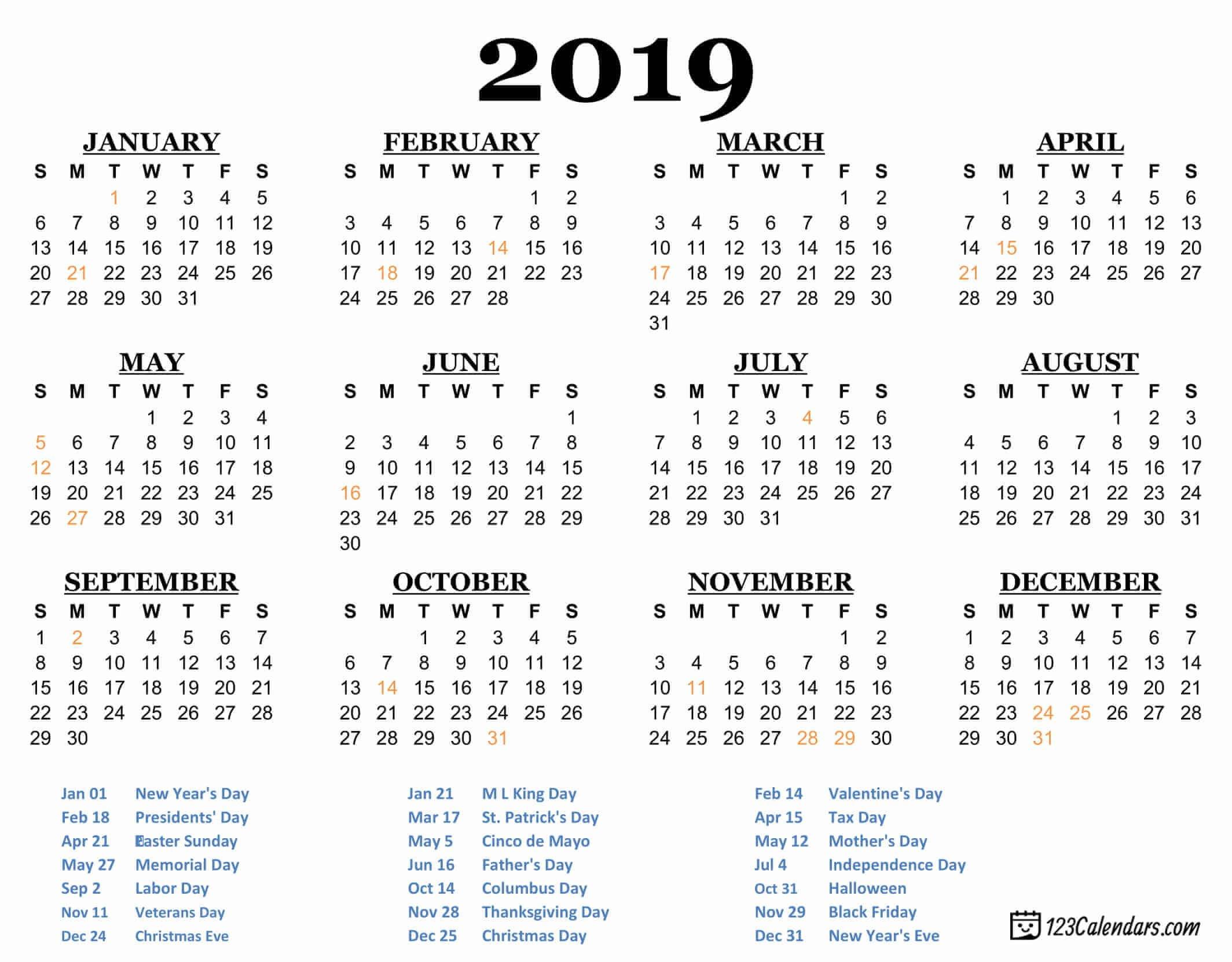 Free Printable 2019 Calendar | 123Calendars X Calendar 2019 Pdf
