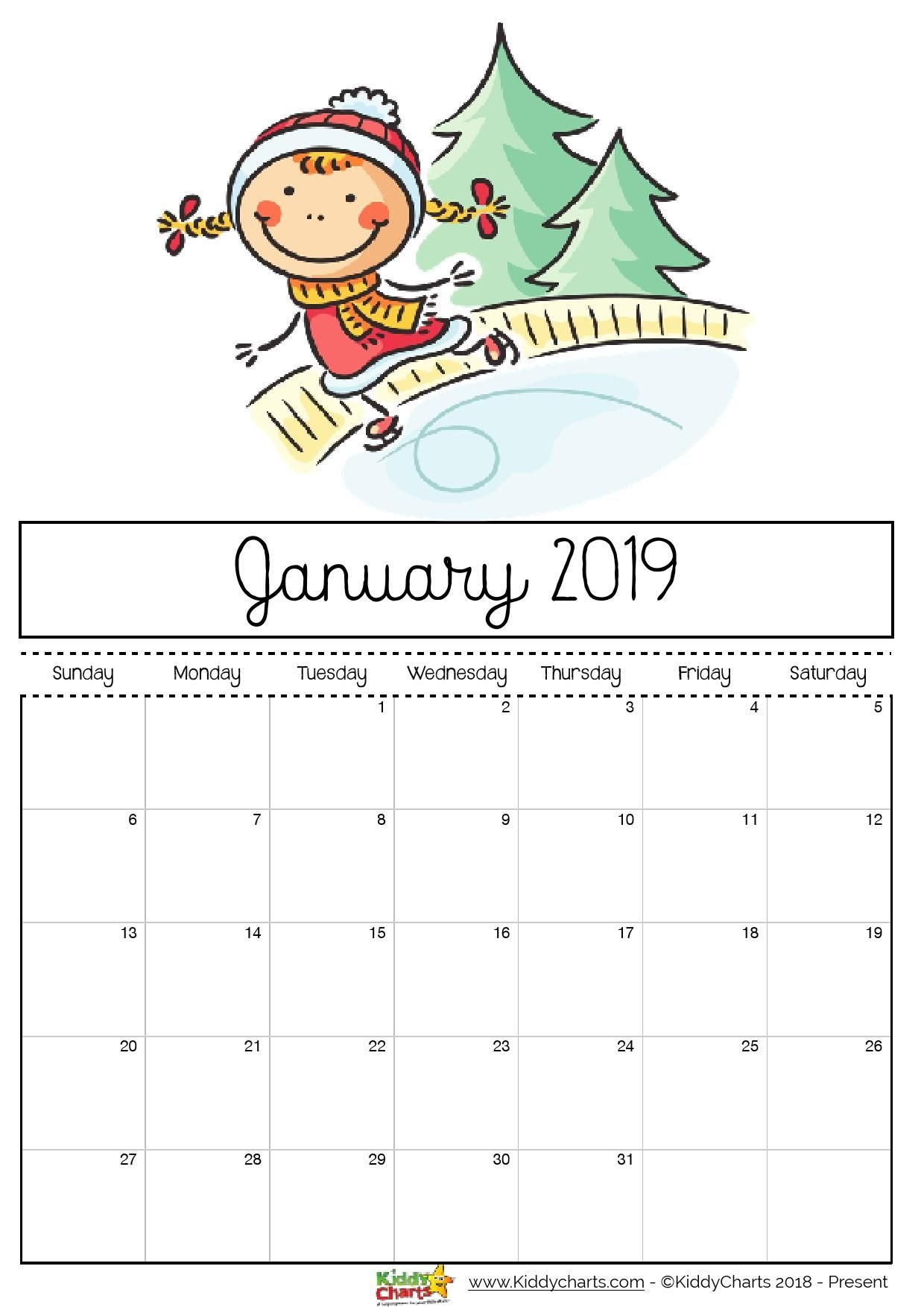 Free Printable 2019 Calendar – Print Yours Here | Planner | Print Calendar 2019 Girly