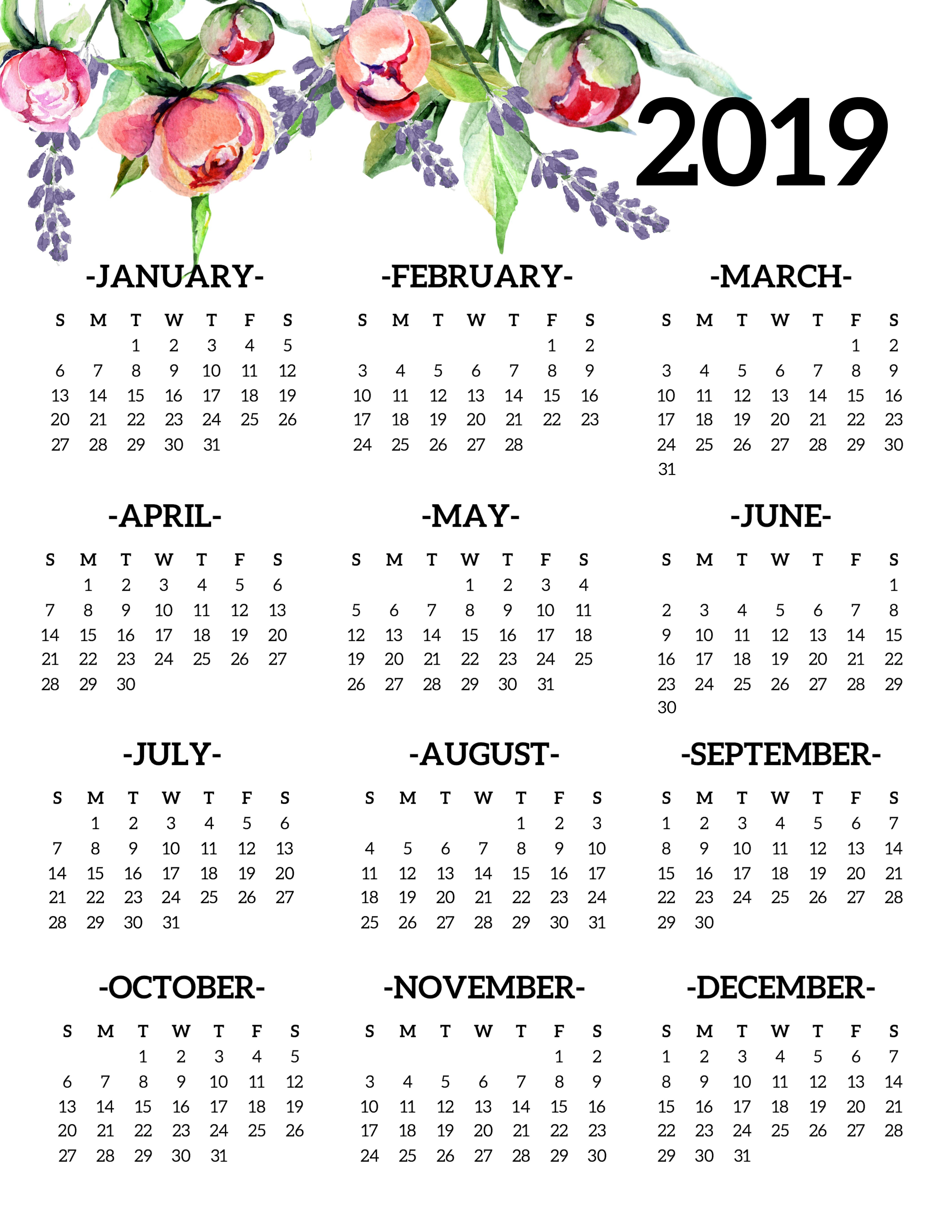Free Printable 2019 Calendar Yearly One Page Floral – Paper Trail Design Calendar 2019 Year Printable