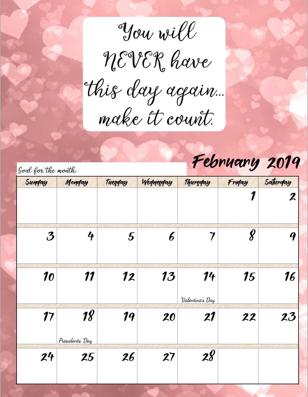 Free Printable 2019 Monthly Motivational Calendars Calendar 2019 Goals