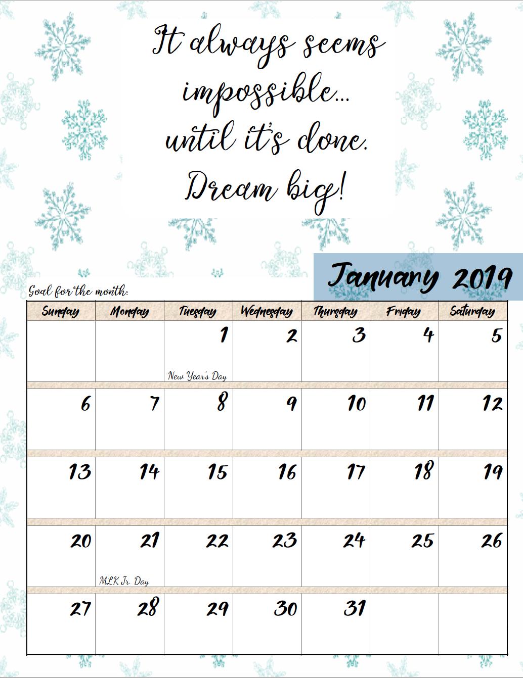 Free Printable 2019 Monthly Motivational Calendars | Morning Prayers Calendar 2019 Inspirational