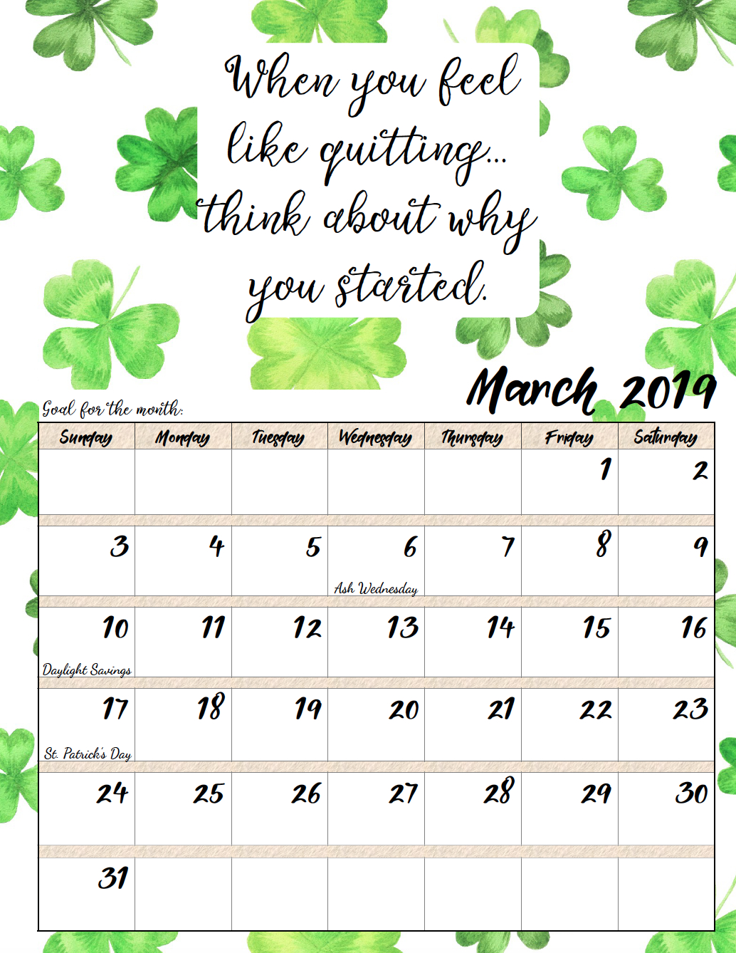 Free Printable 2019 Monthly Motivational Calendars   Morning Prayers Calendar 2019 Quotes