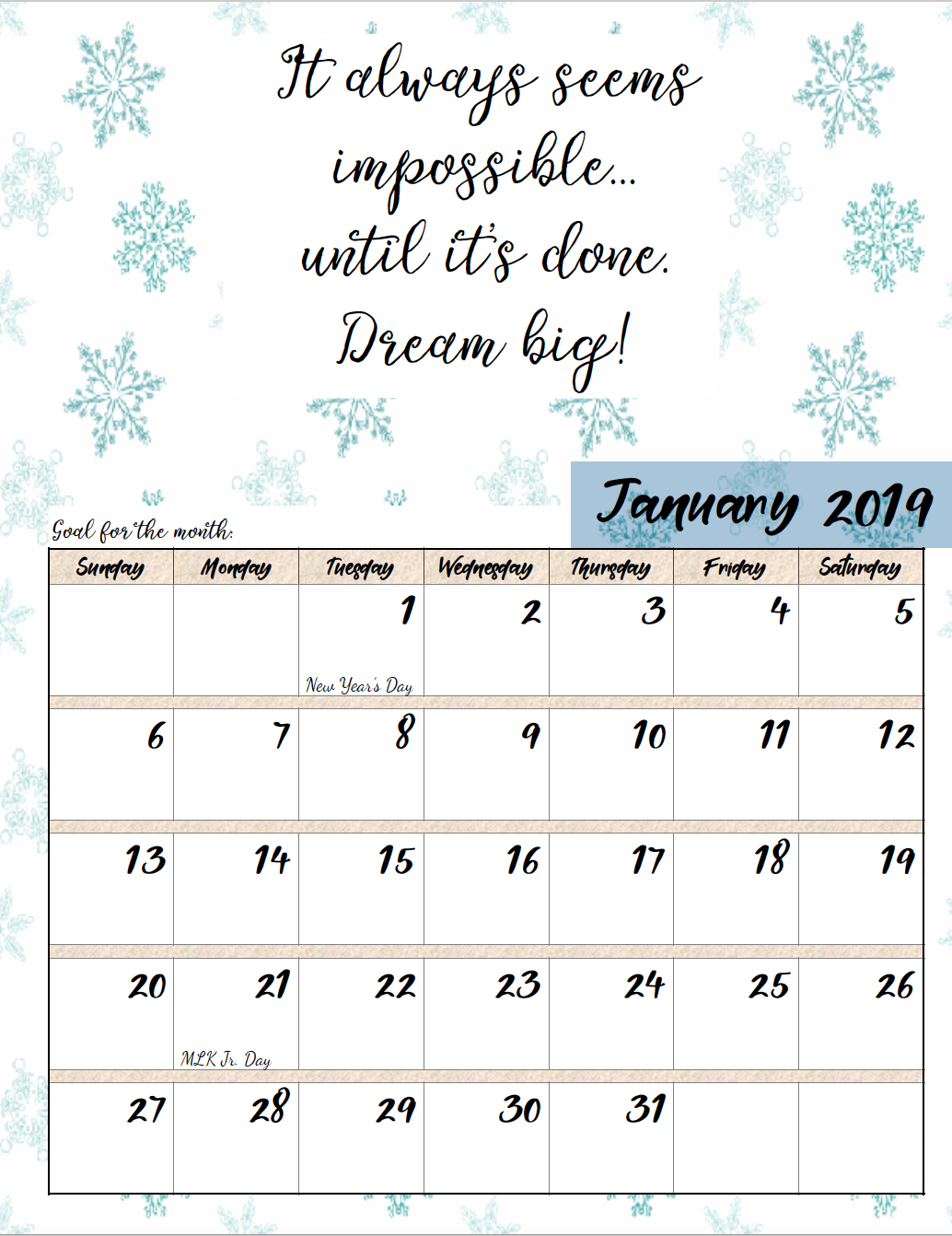 Free Printable 2019 Monthly Motivational Calendars | Morning Prayers M&m Calendar 2019