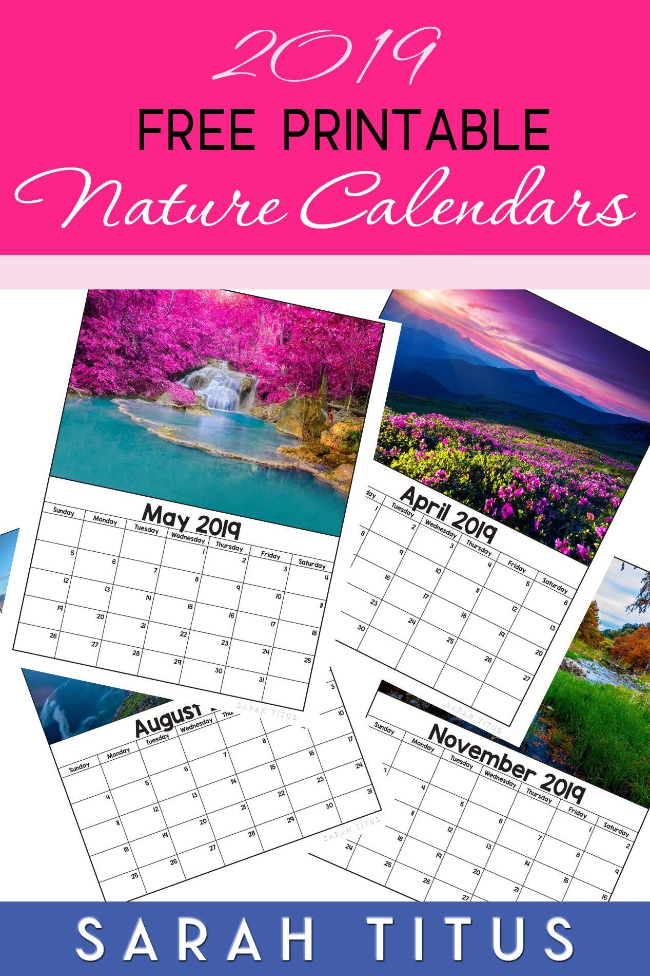 Free Printable 2019 Nature Calendars – Sarah Titus Calendar 2019 Nature
