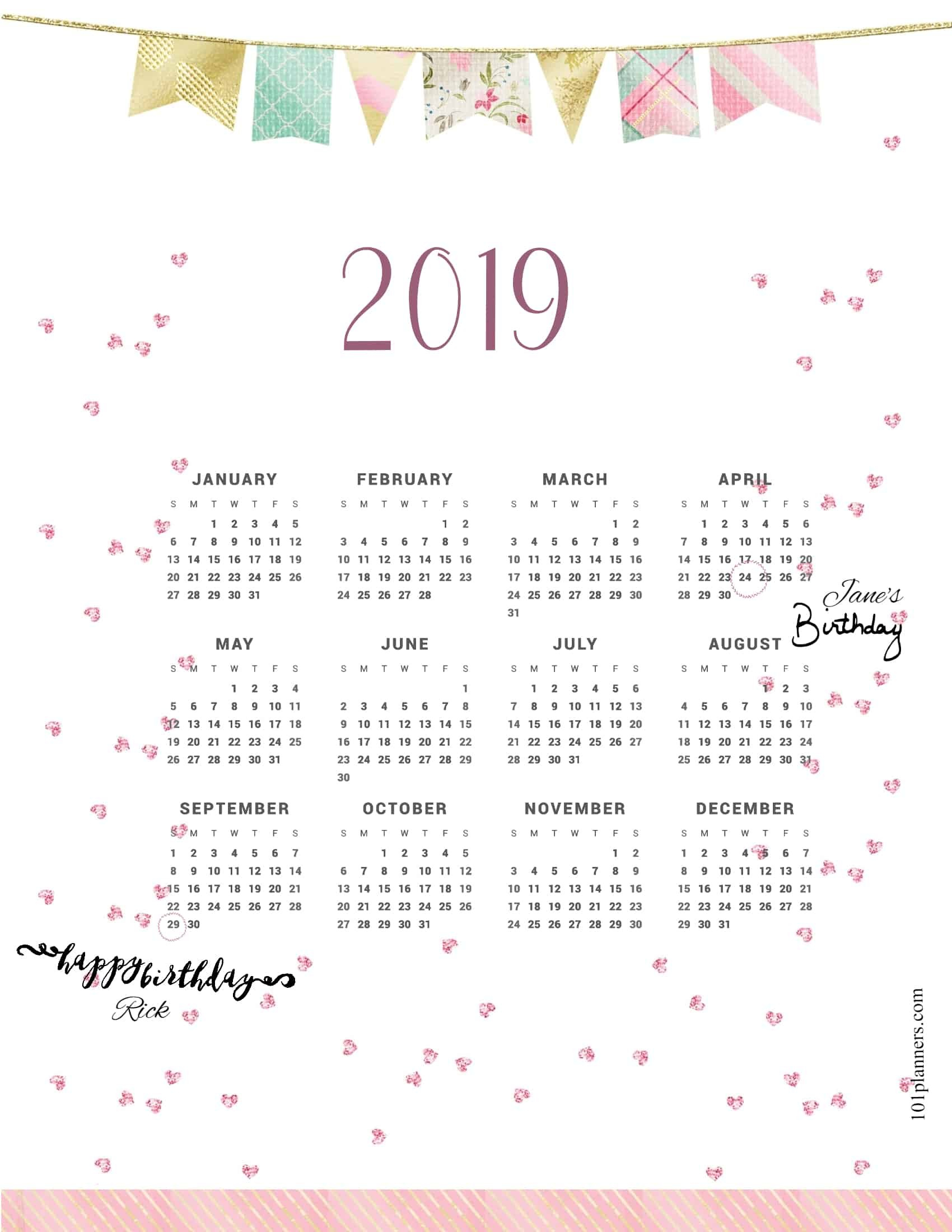 Free Printable 2019 Yearly Calendar At A Glance | 101 Backgrounds Calendar 2019 At A Glance