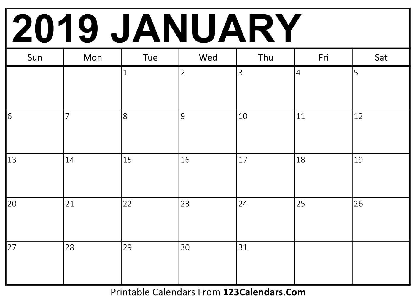 Free Printable Calendar | 123Calendars A Calendar For January 2019