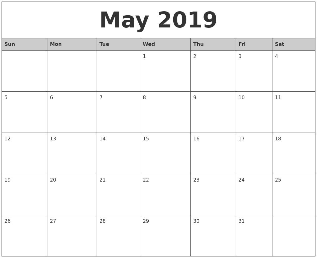 Free Printable Calendar 2018: 2019 Editable Word, Excel Calendar Calendar 2019 Template Word