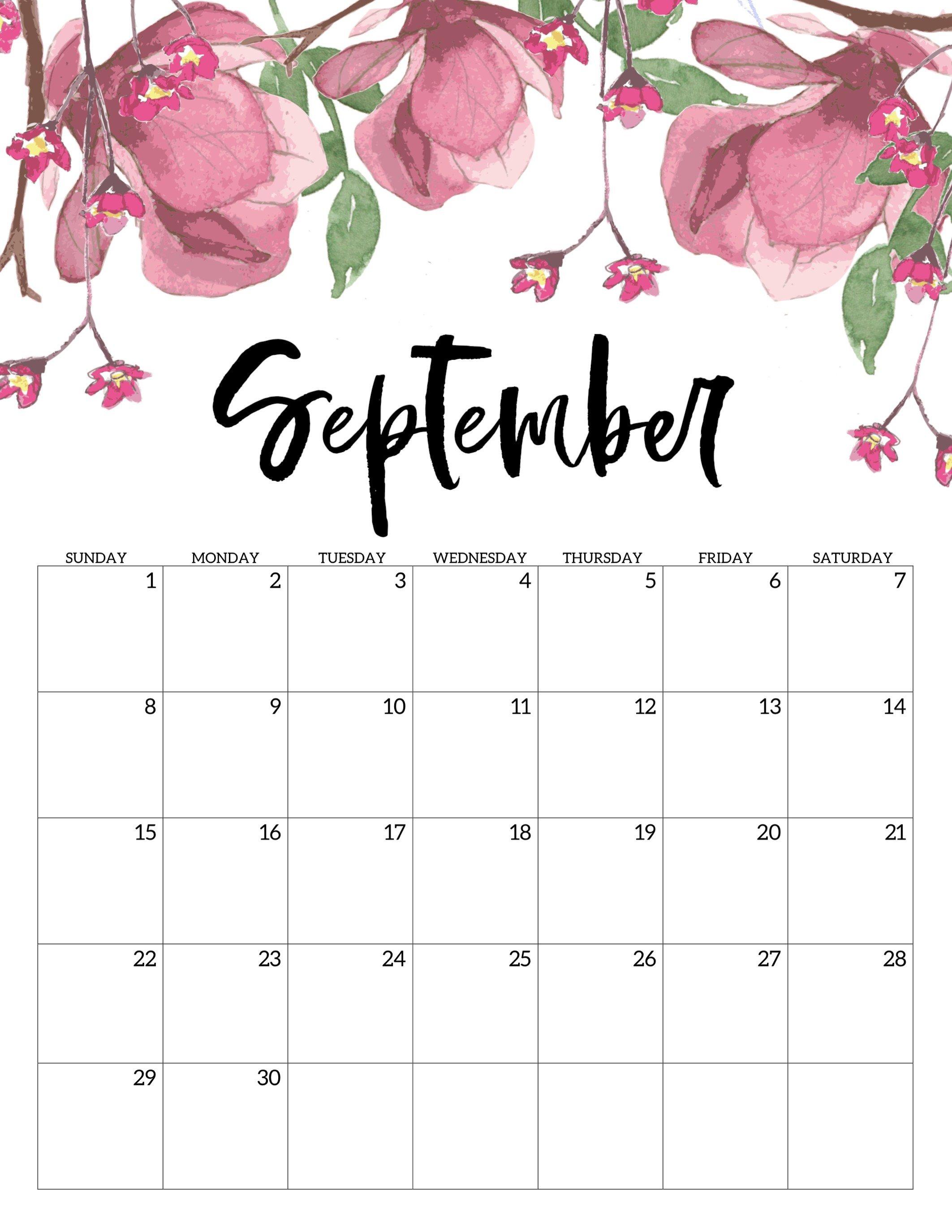 Free Printable Calendar 2019 – Floral – Paper Trail Design Calendar 2019 Girly