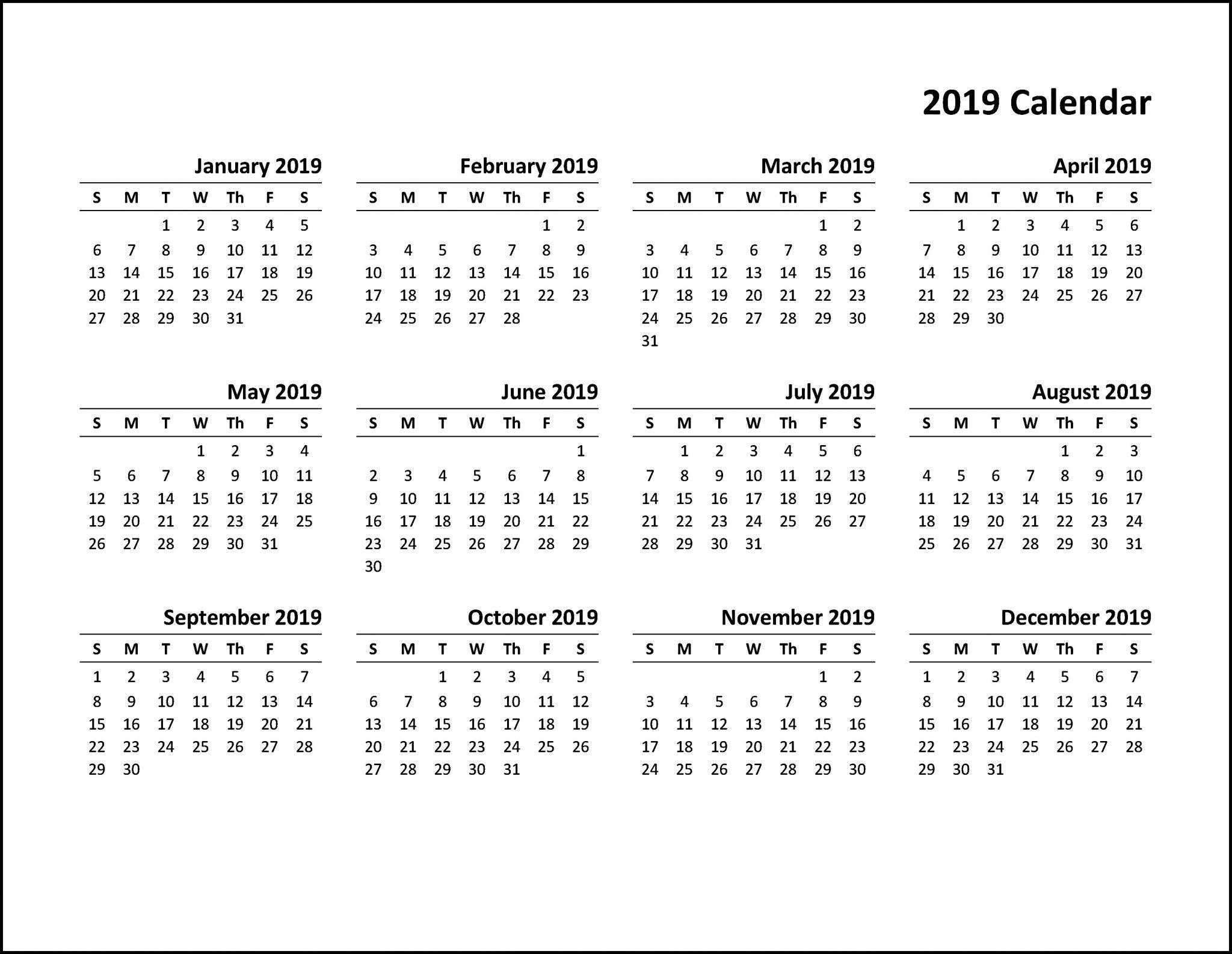 Free Printable Calendar 2019 Pdf | Top 10 Free 2019 Calendar Calendar Of 2019 Pdf