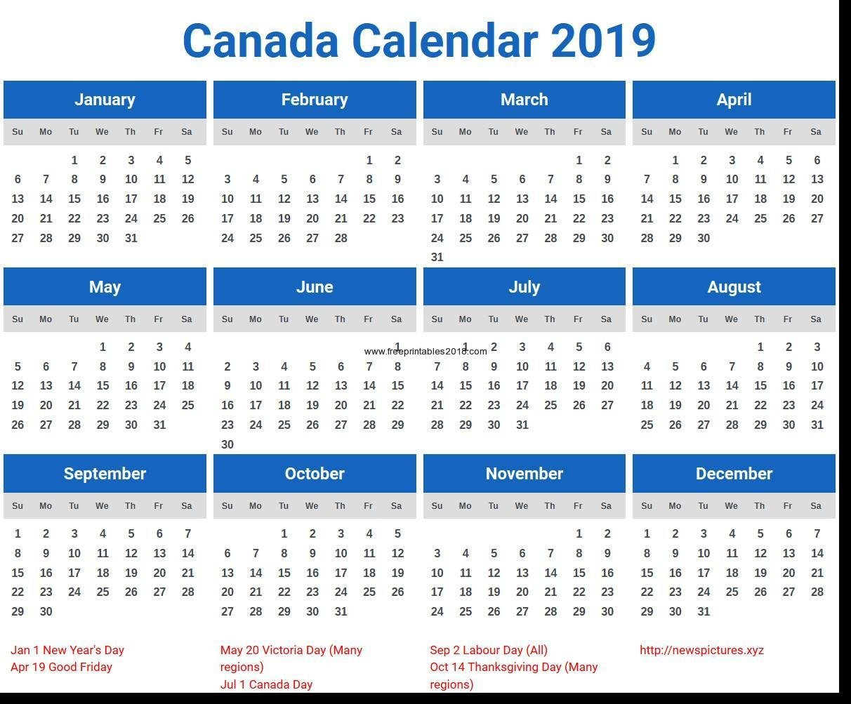 Free Printable Calendar Canada 2019 Calendar Canada Printable Canada Calendar 2019 Canada