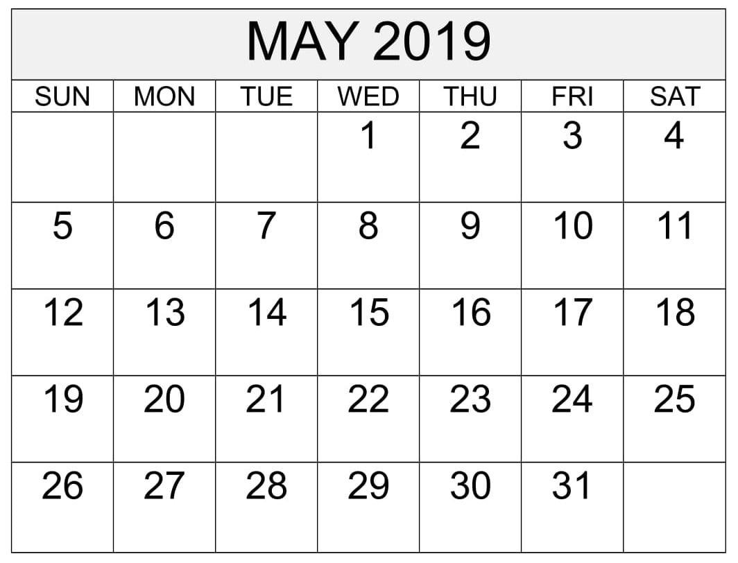Free Printable Calendar & Template Calendar 2019 Memorial Day