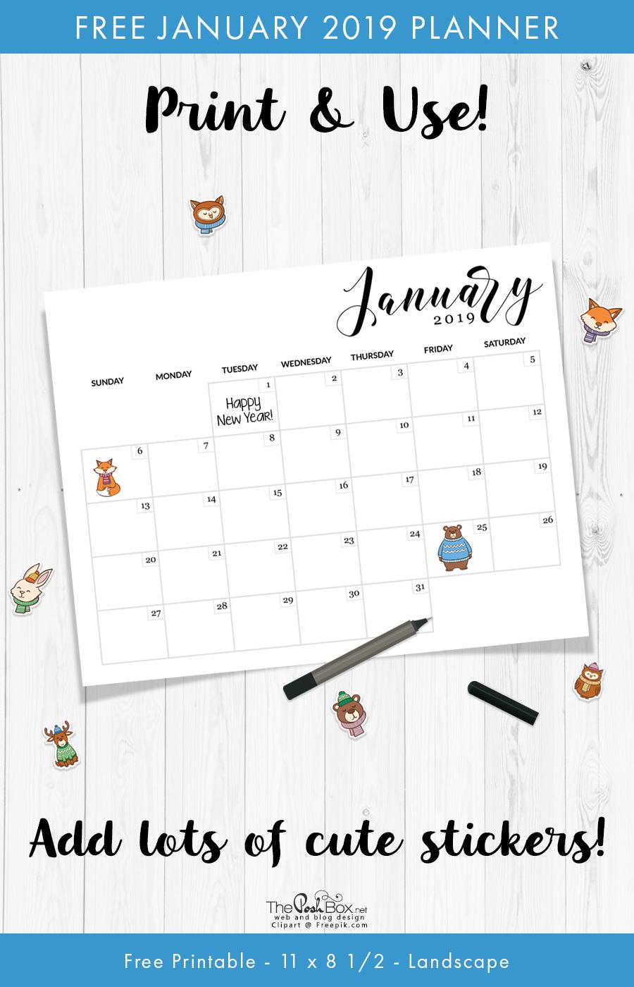 Free Printable January Calendar & Planner   The Posh Box Calendar 2019 Officemax