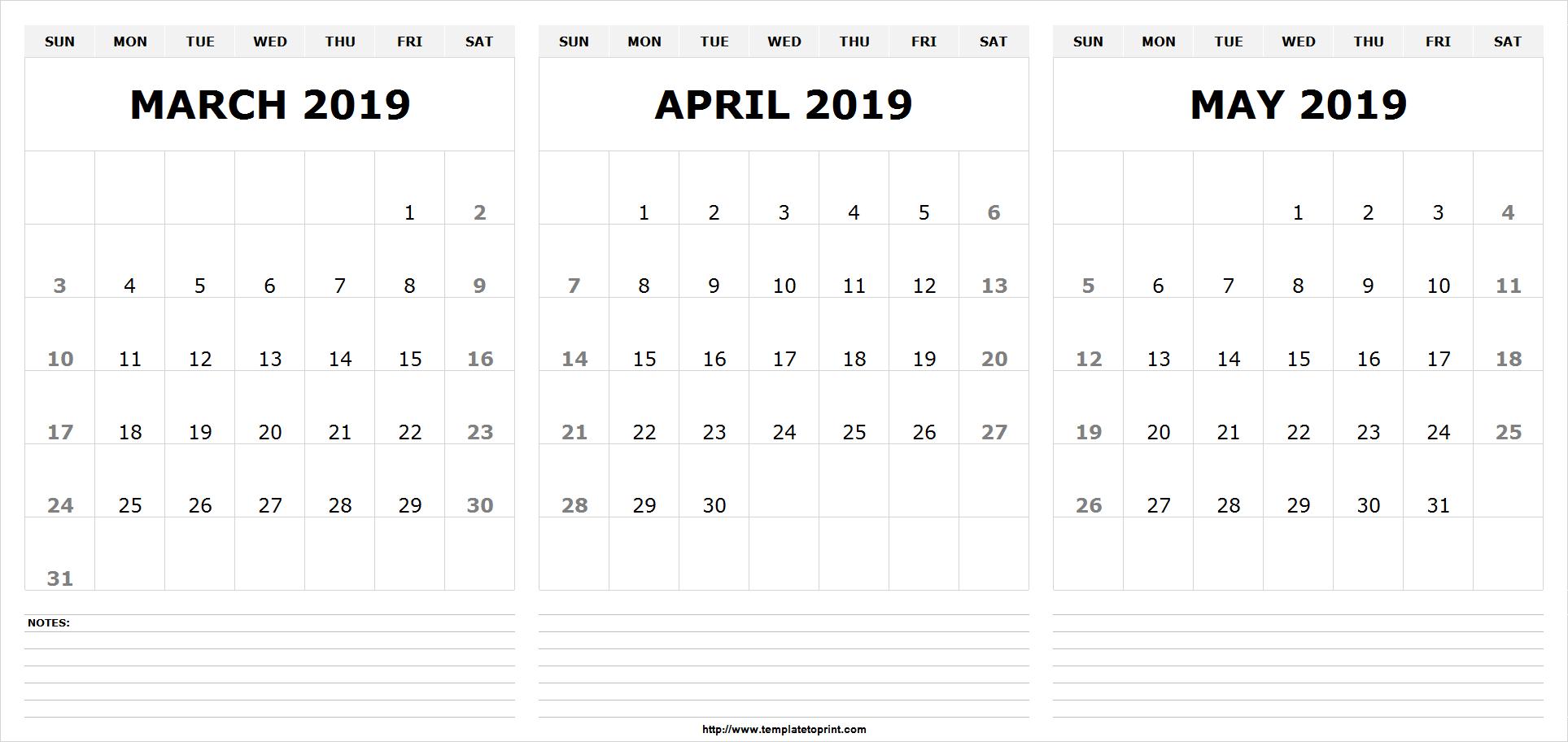 Free Printable March April May 2019 Calendar – Printable Calendar Calendar 2019 April May