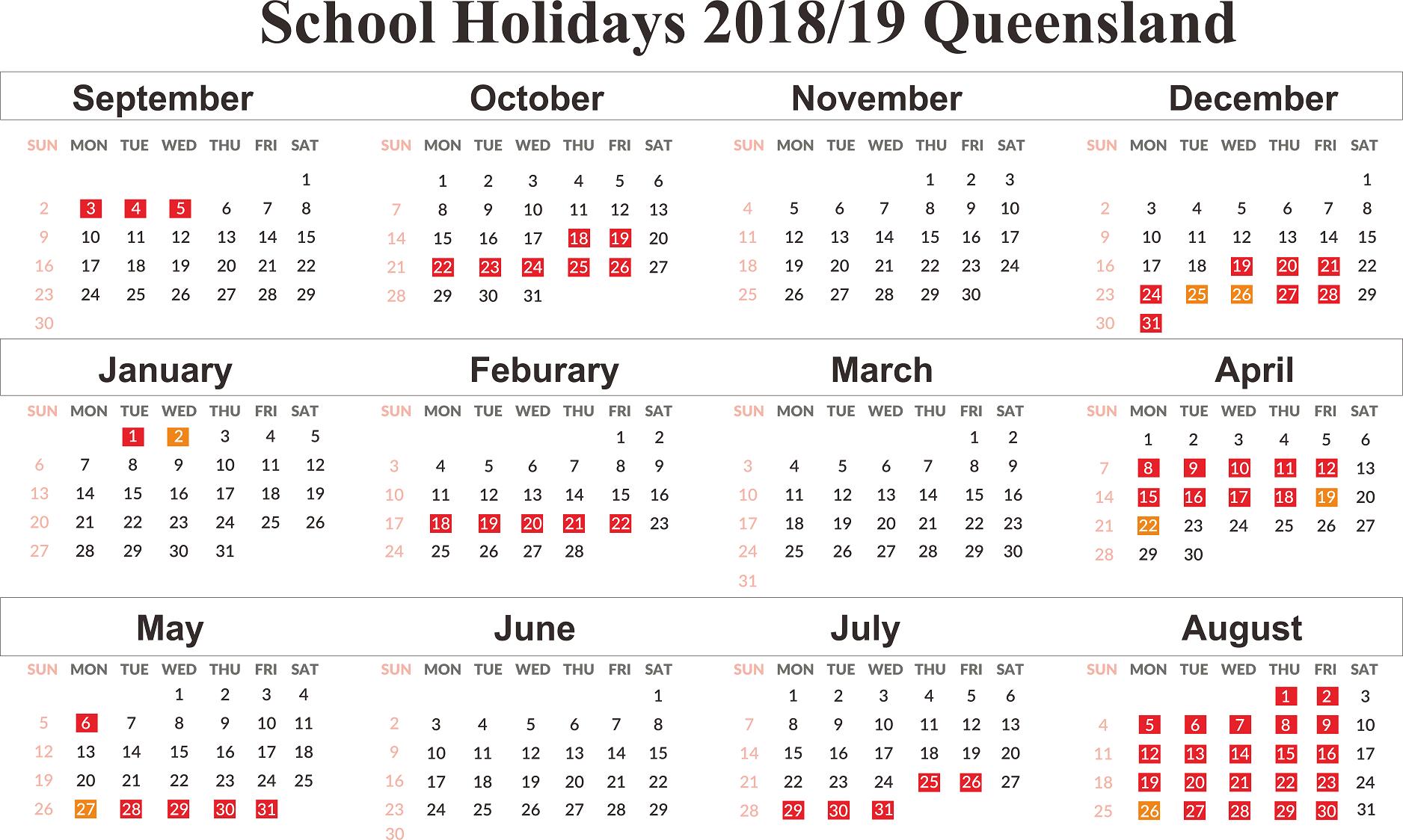 Free Qld (Queensland) School Holidays Calendar 2018 2019 | Free 2019 Calendar Qld Holidays