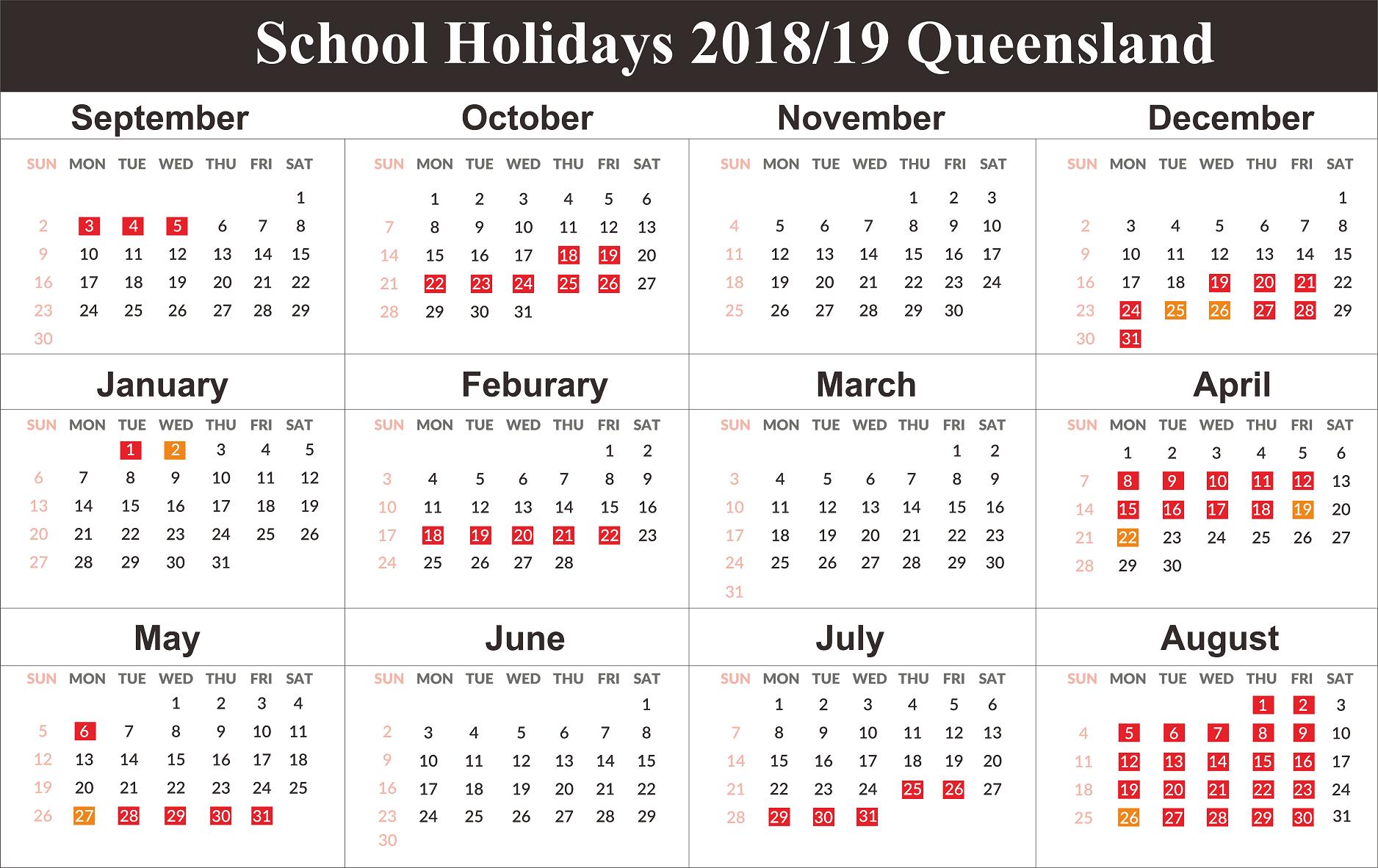 Free Qld (Queensland) School Holidays Calendar 2018 2019 | Free Calendar 2019 Qld School Holidays